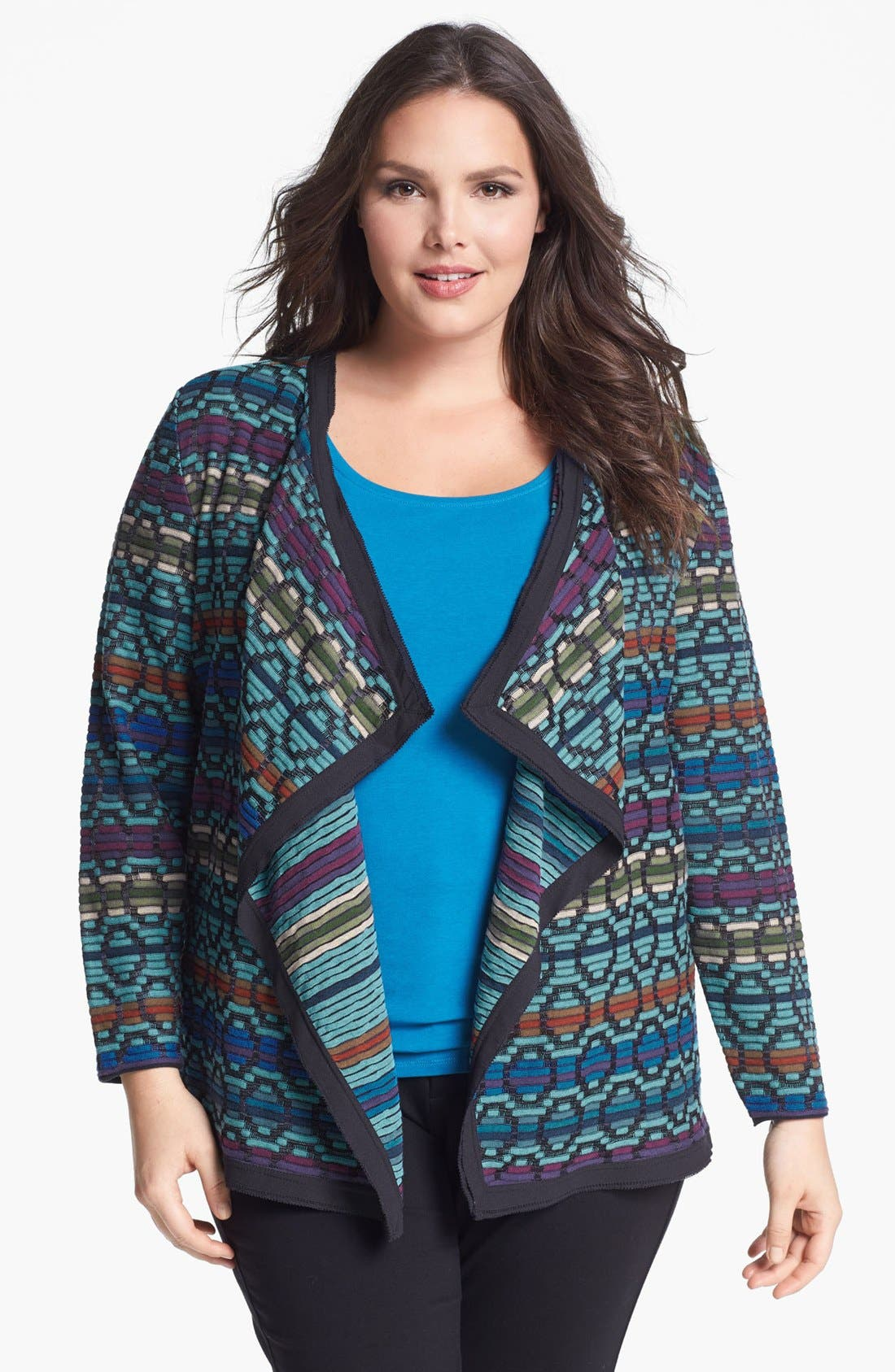 Alternate Image 1 Selected - NIC+ZOE 'Dots & Dashes' Drape Front Cardigan (Plus Size)