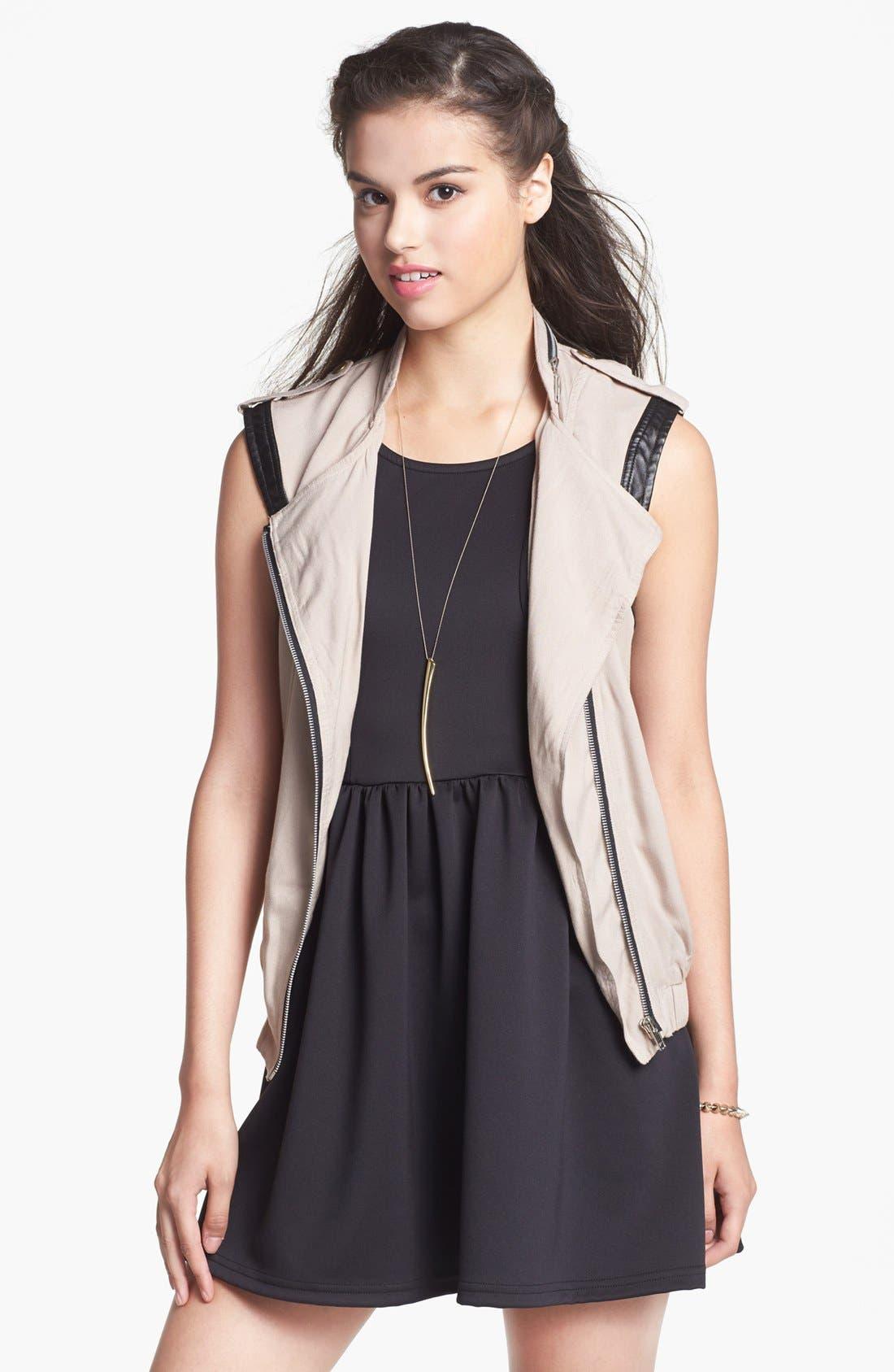 Main Image - Living Doll Faux Leather Trim Utility Vest (Juniors)
