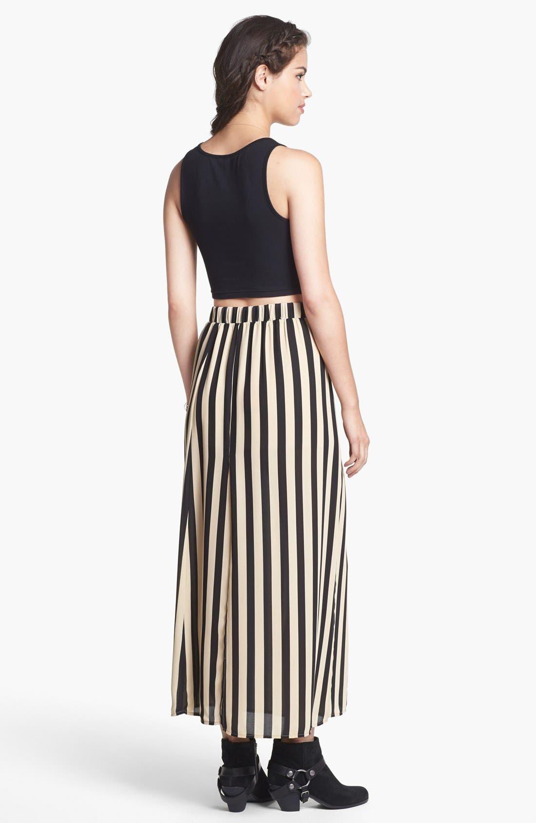 Alternate Image 2  - Blu Pepper Stripe Maxi Skirt (Juniors)