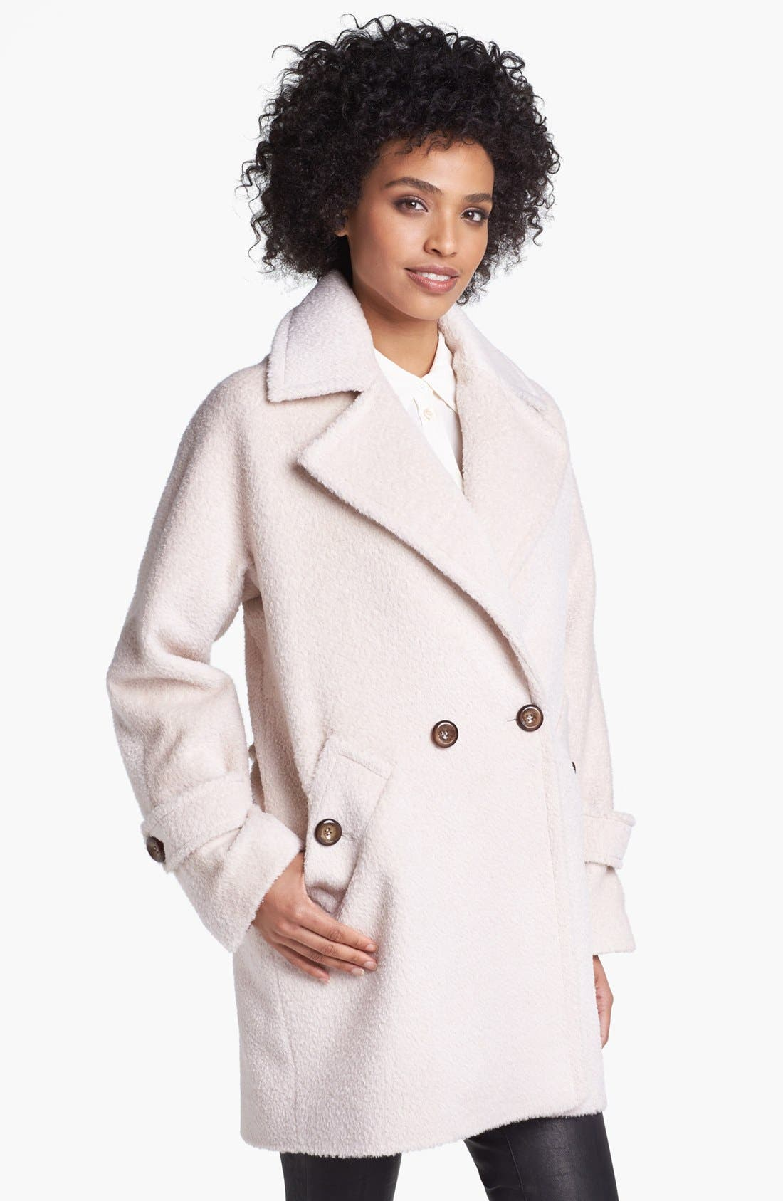 'Nancy' Sheared Wool & Alpaca Blend Coat,                             Main thumbnail 1, color,                             Champagne