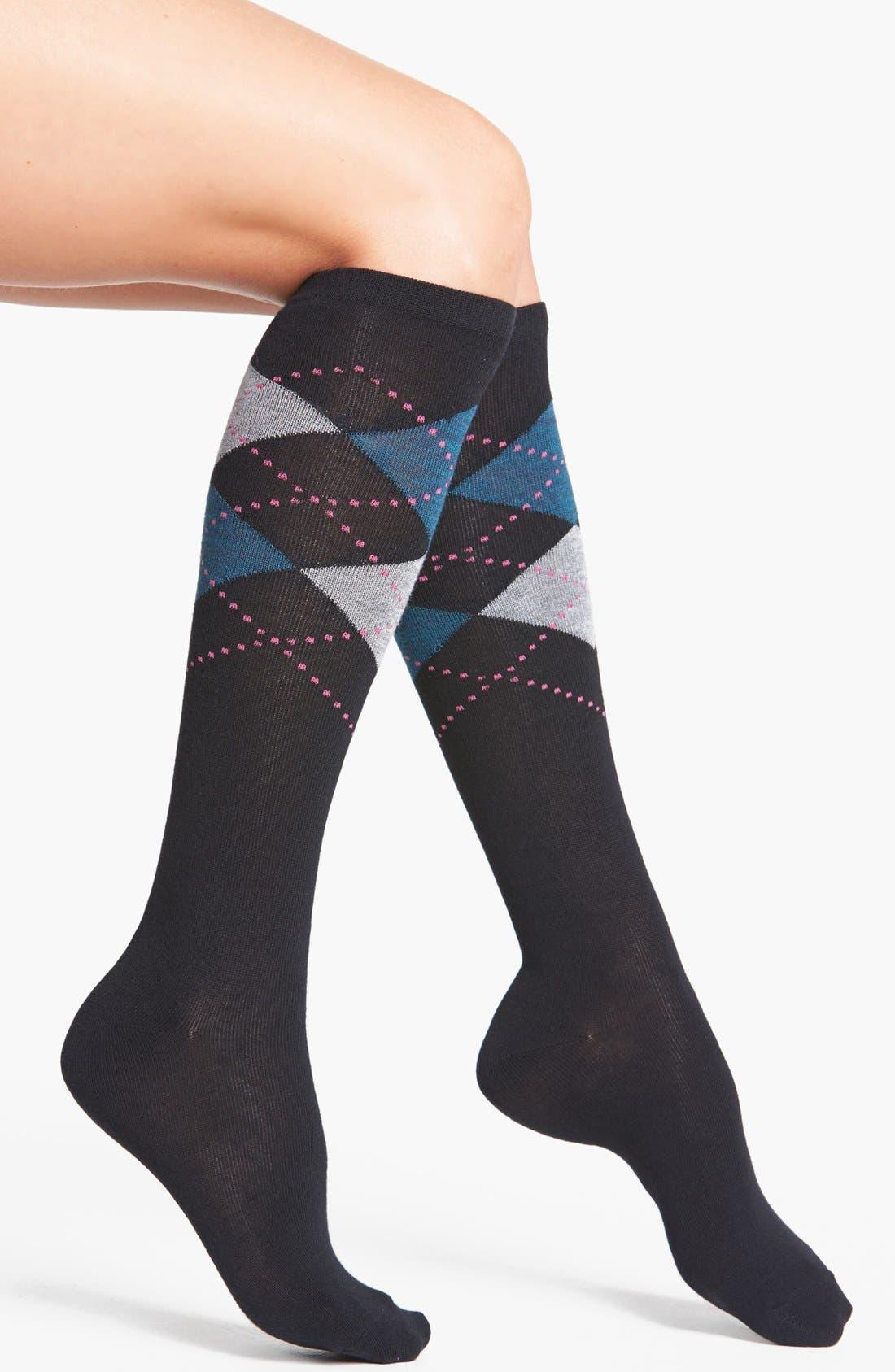 Alternate Image 1 Selected - Nordstrom 'Soft Touch' Argyle Knee Socks