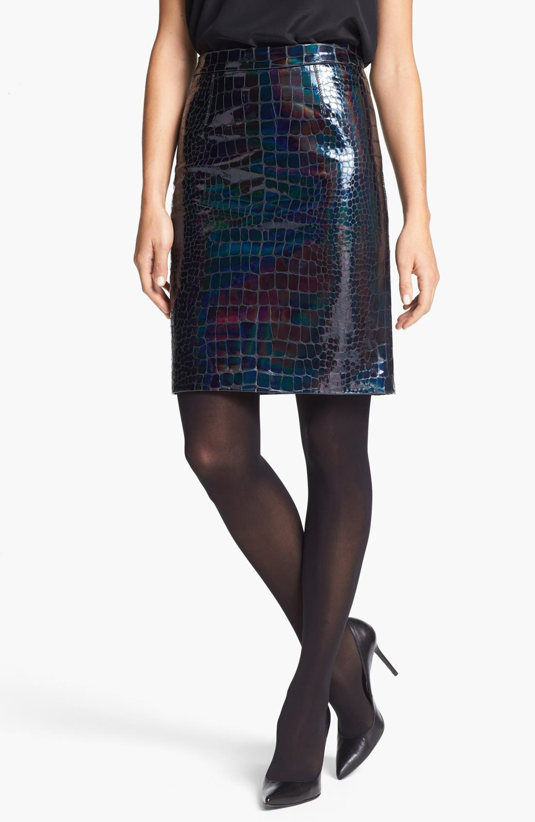 Main Image - Milly 'Edith' Embossed Leather Pencil Skirt