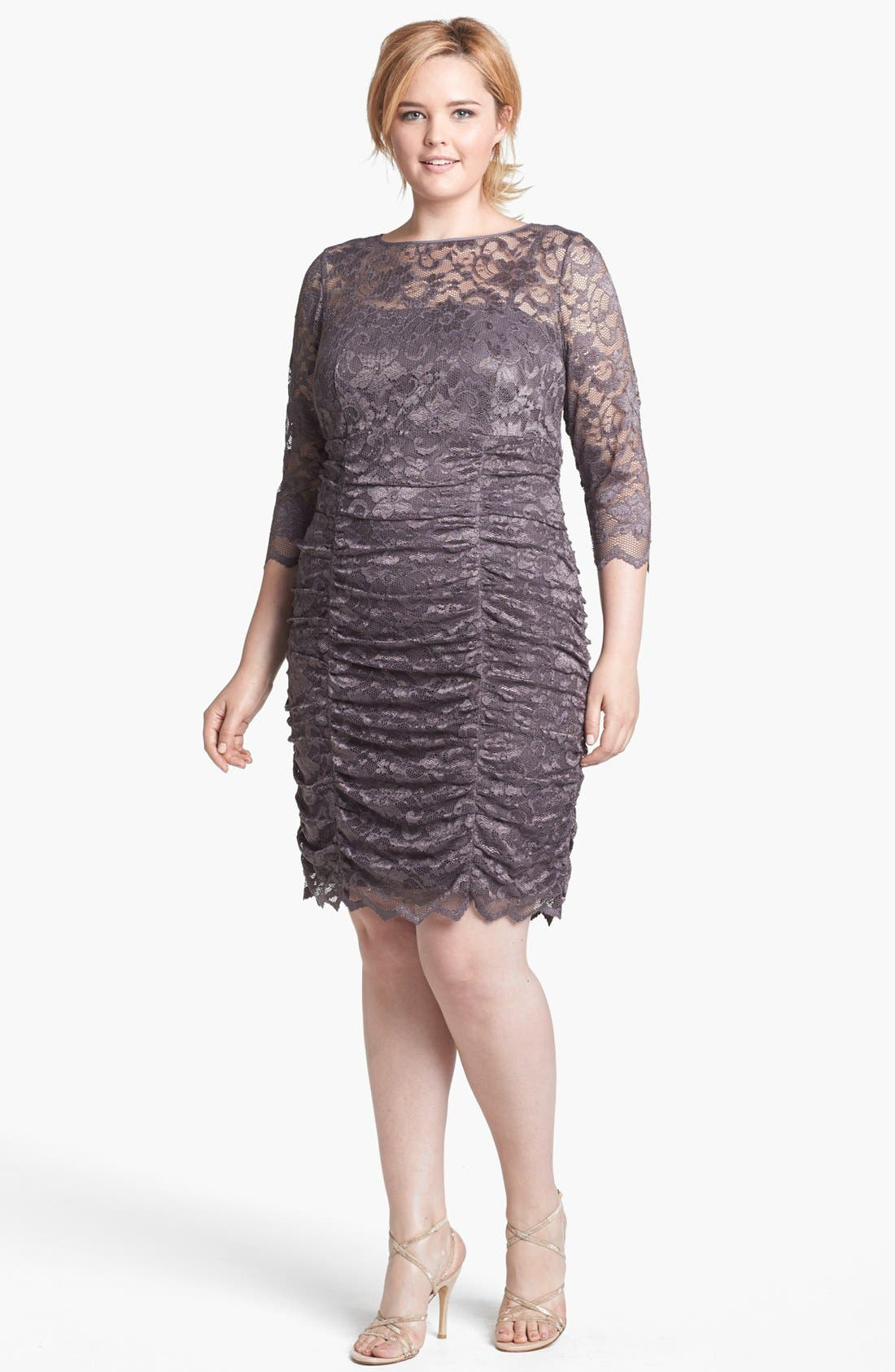 Main Image - Eliza J Ruched Lace Dress (Plus Size)