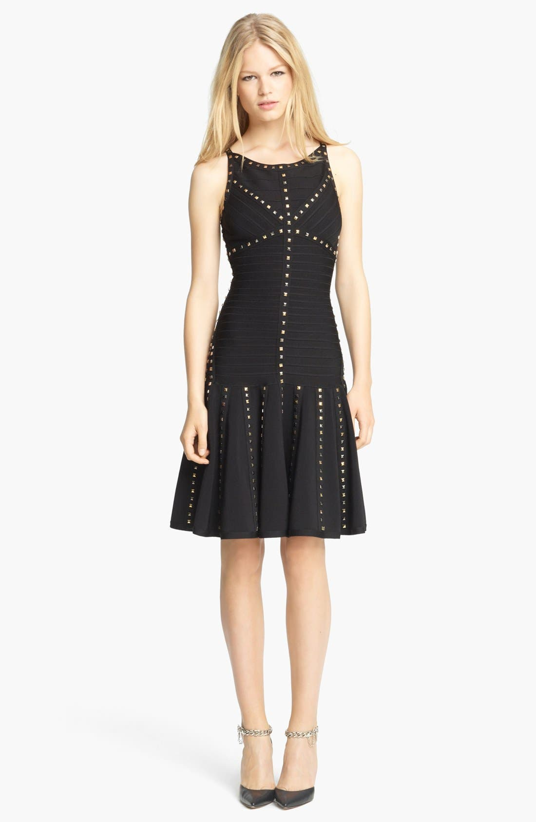 Alternate Image 1 Selected - Herve Leger Gold Studded Dress