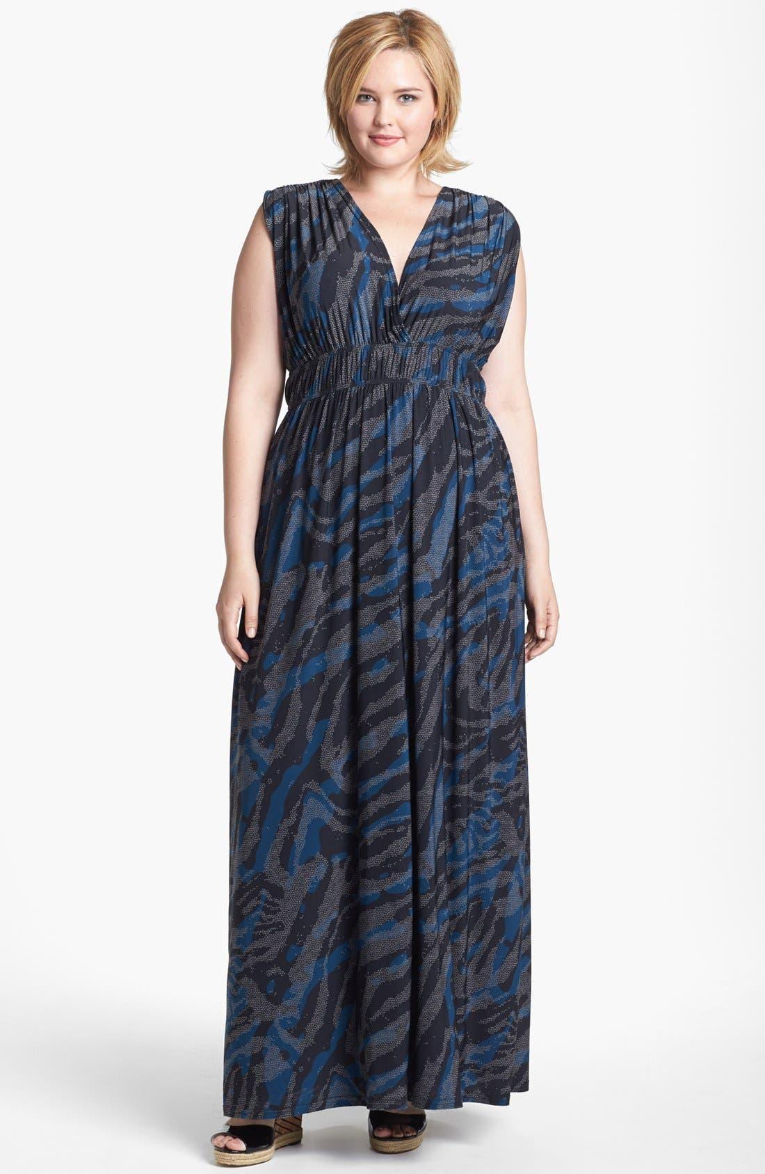 Alternate Image 1 Selected - Viereck 'Rochelle' Matte Jersey Maxi Dress (Plus Size)