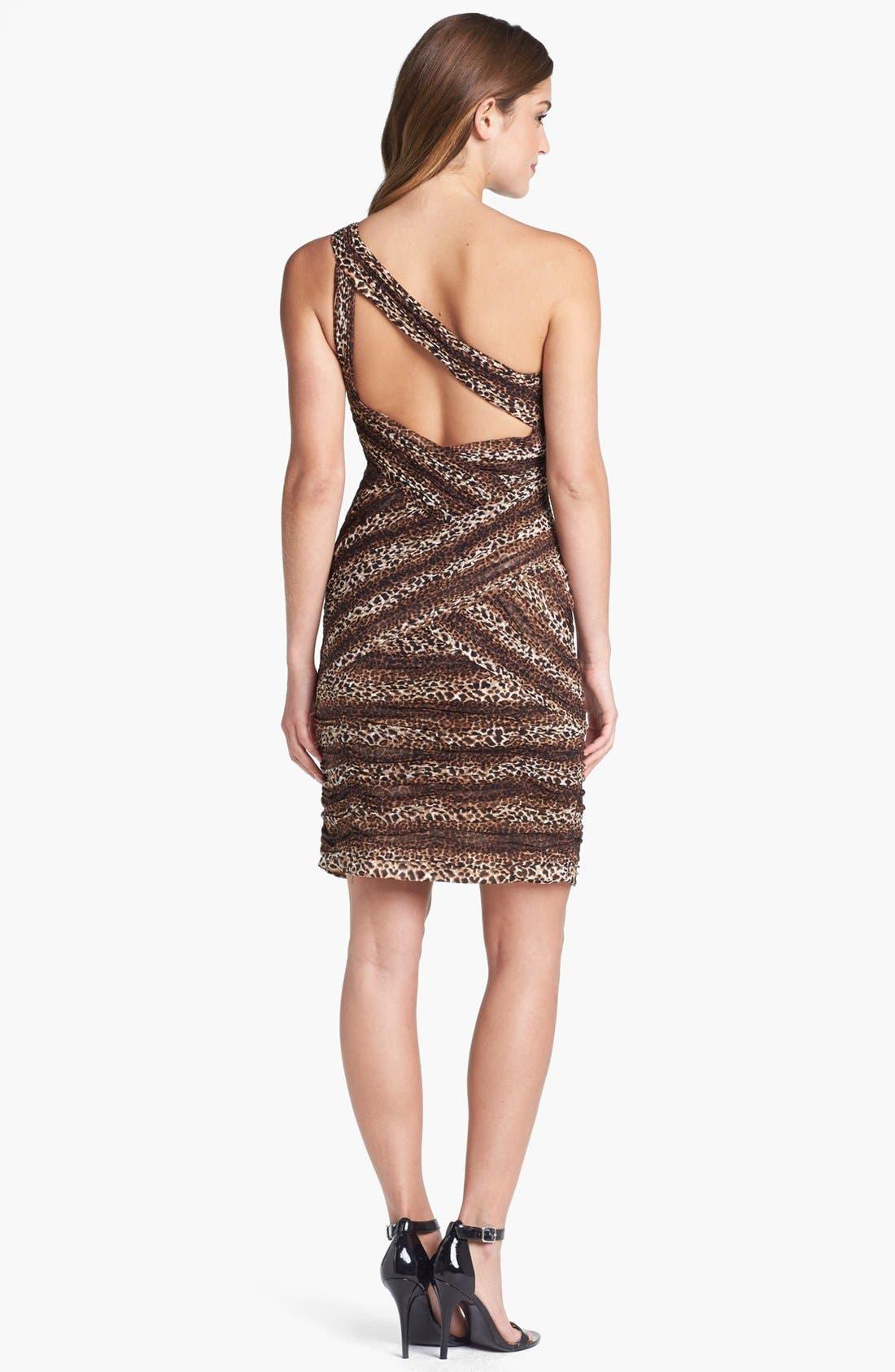 Alternate Image 2  - Sue Wong Animal Print One-Shoulder Sheath Dress