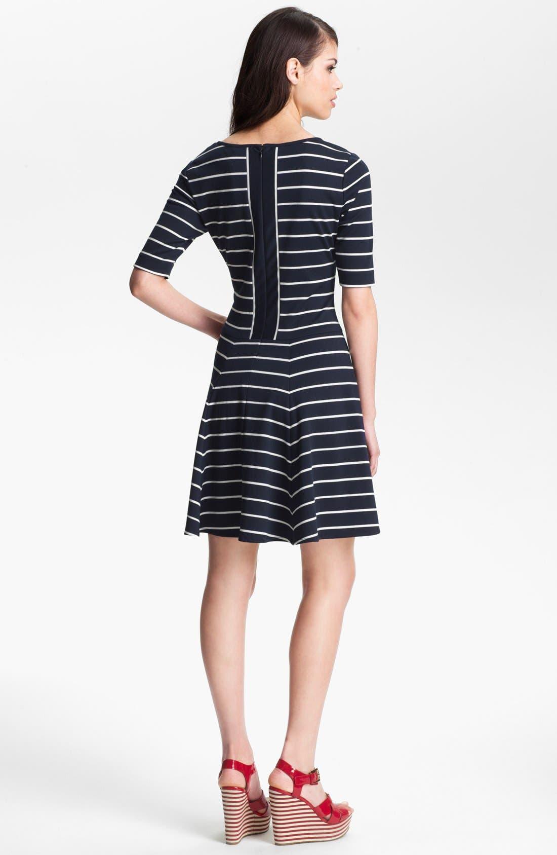 Alternate Image 2  - Eliza J Stripe Fit & Flare Dress (Petite)