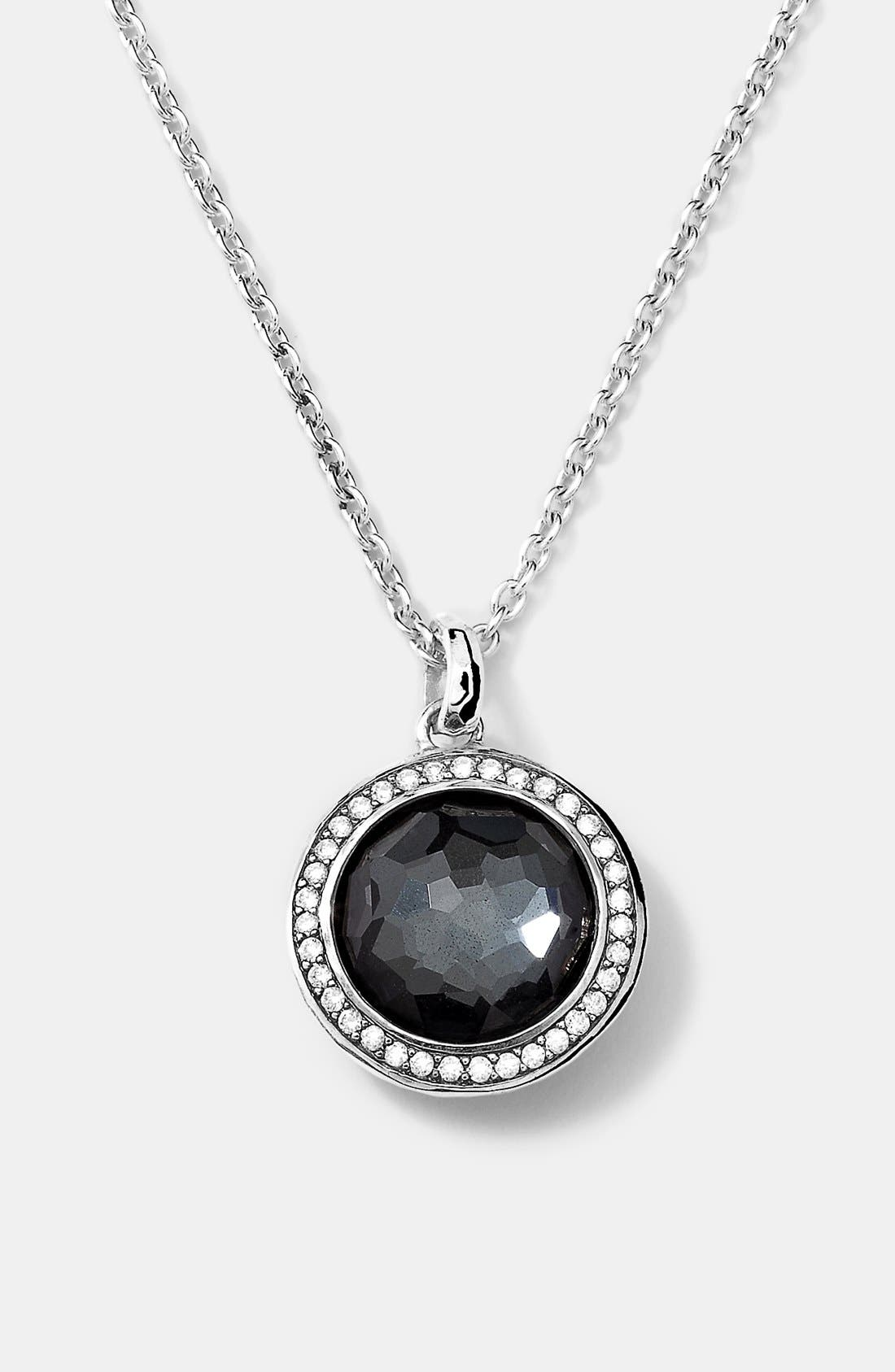 'Stella' Small Pendant Necklace,                             Main thumbnail 1, color,                             Silver/ Hematite