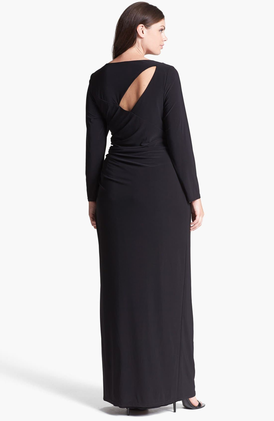 Alternate Image 2  - Betsy & Adam Embellished Cutout Long Jersey Dress (Plus Size)