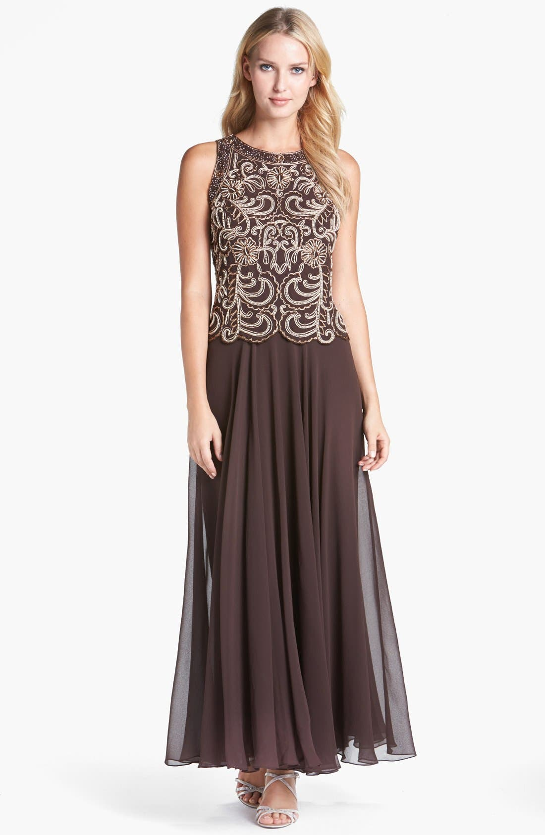 Alternate Image 1 Selected - J Kara Beaded Mock Two-Piece Dress