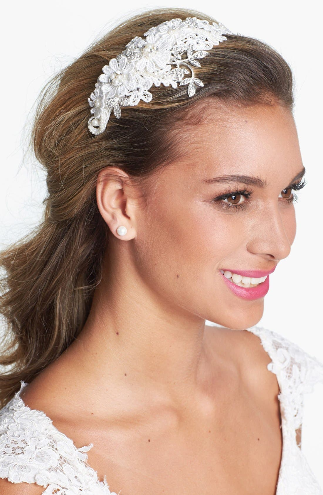 'Kathryn' Faux Pearl & Crystal Mélange Headband,                             Main thumbnail 1, color,                             Ivory
