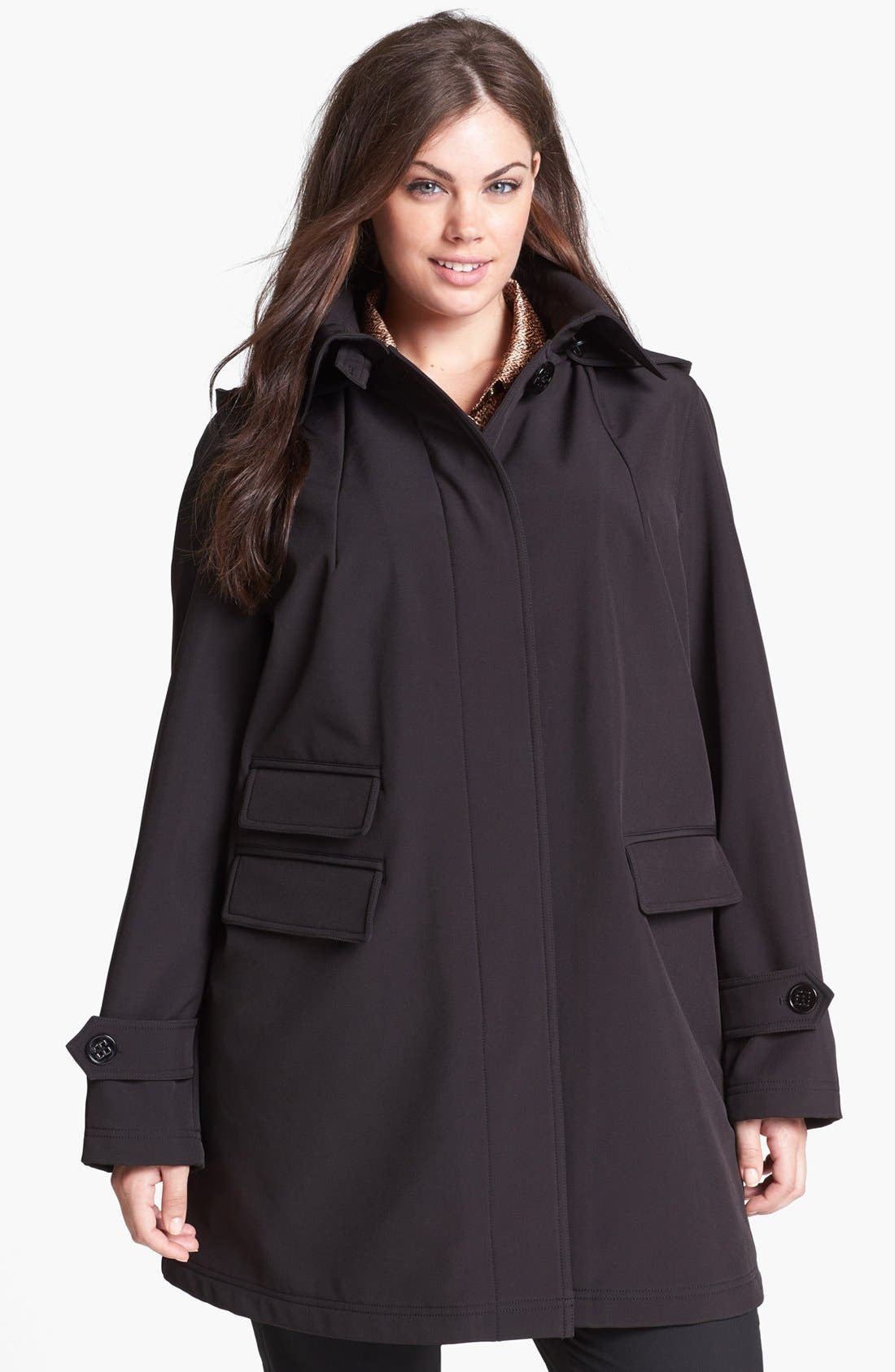 Main Image - Gallery Soft Shell Swing Coat with Detachable Hood (Plus Size)