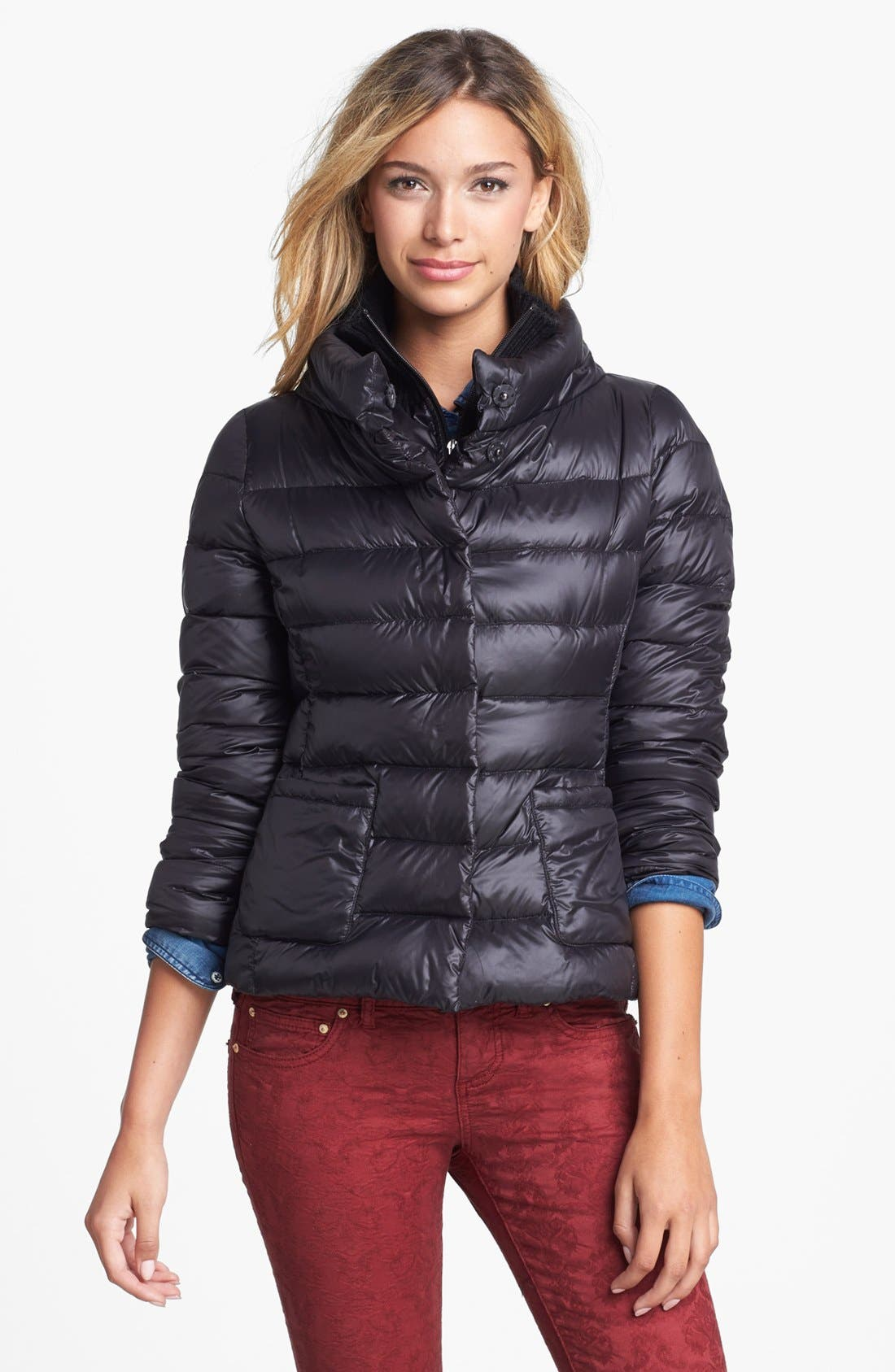 Alternate Image 1 Selected - T Tahari 'Sandra' Bib Front Packable Quilted Jacket