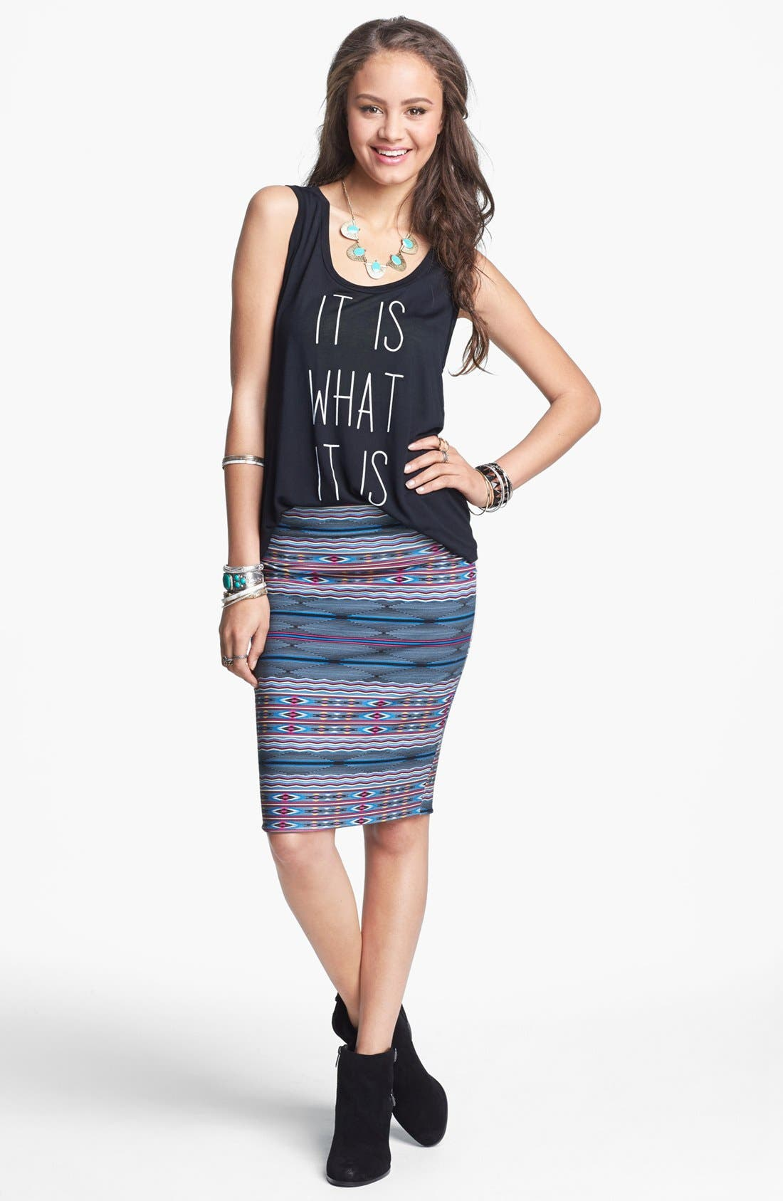 Alternate Image 1 Selected - Lily White Mid-Length Pencil Skirt (Juniors)