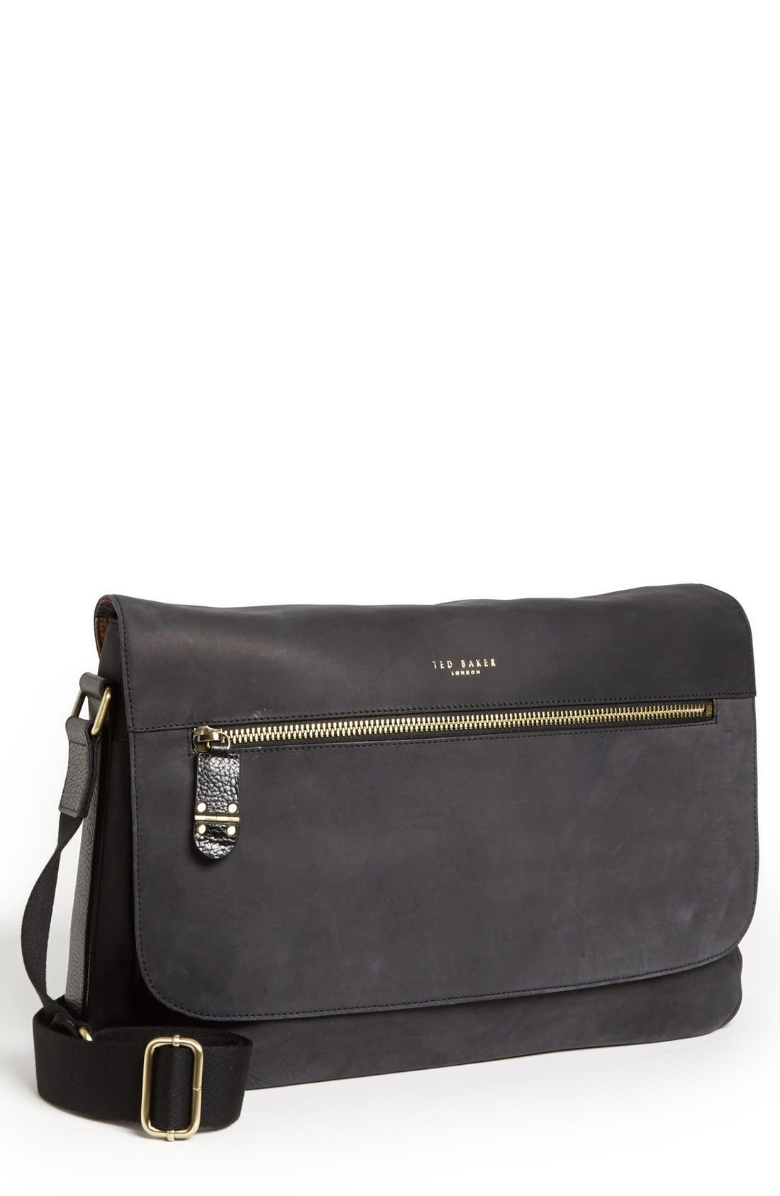 Alternate Image 1 Selected - Ted Baker London Leather Messenger Bag