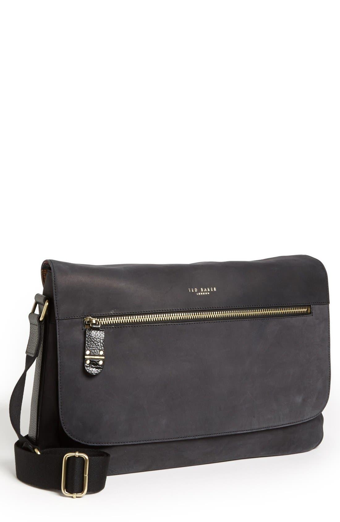 Main Image - Ted Baker London Leather Messenger Bag