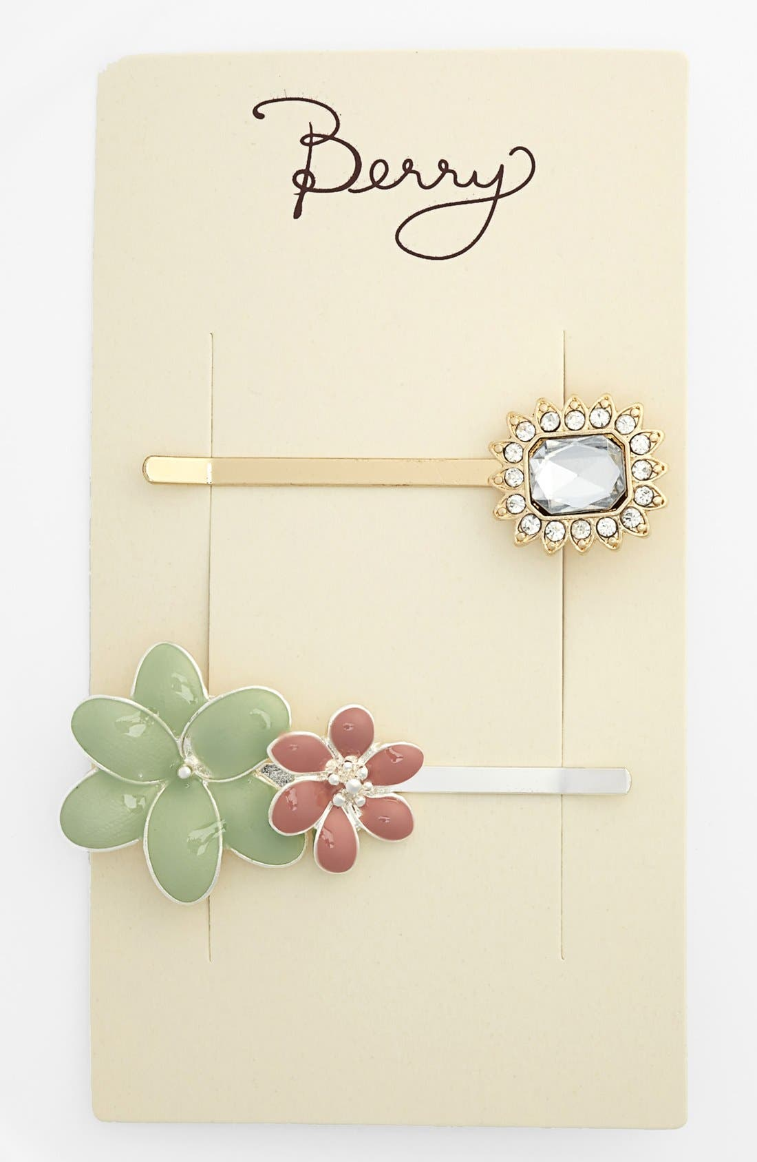 Alternate Image 2  - Berry 'Flowers' Bobby Pins (Set of 2)
