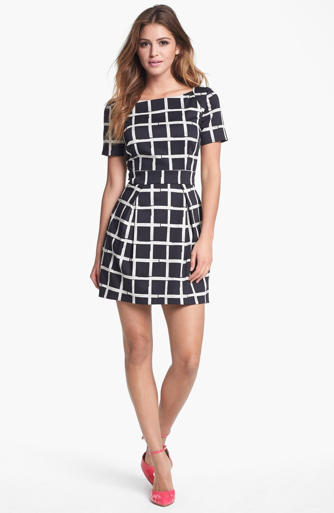 Print Fit & Flare Dress,                         Main,                         color, Black