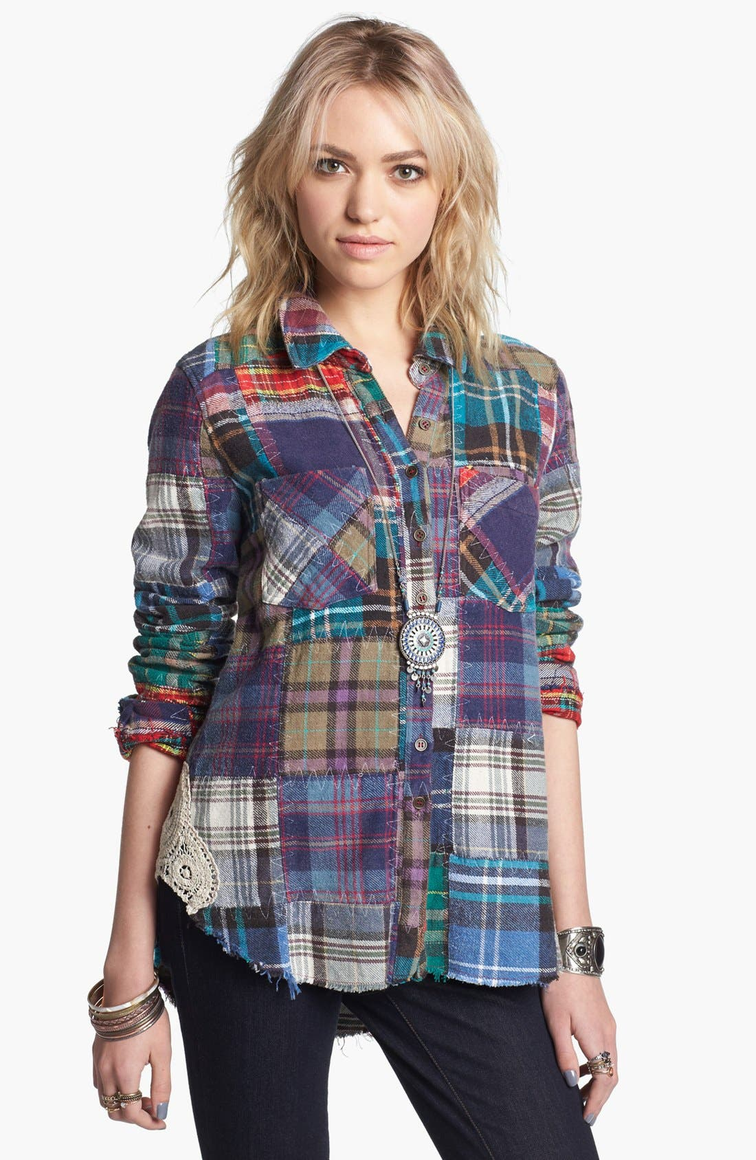 Main Image - Free People 'Lost in Plaid' Patchwork Shirt