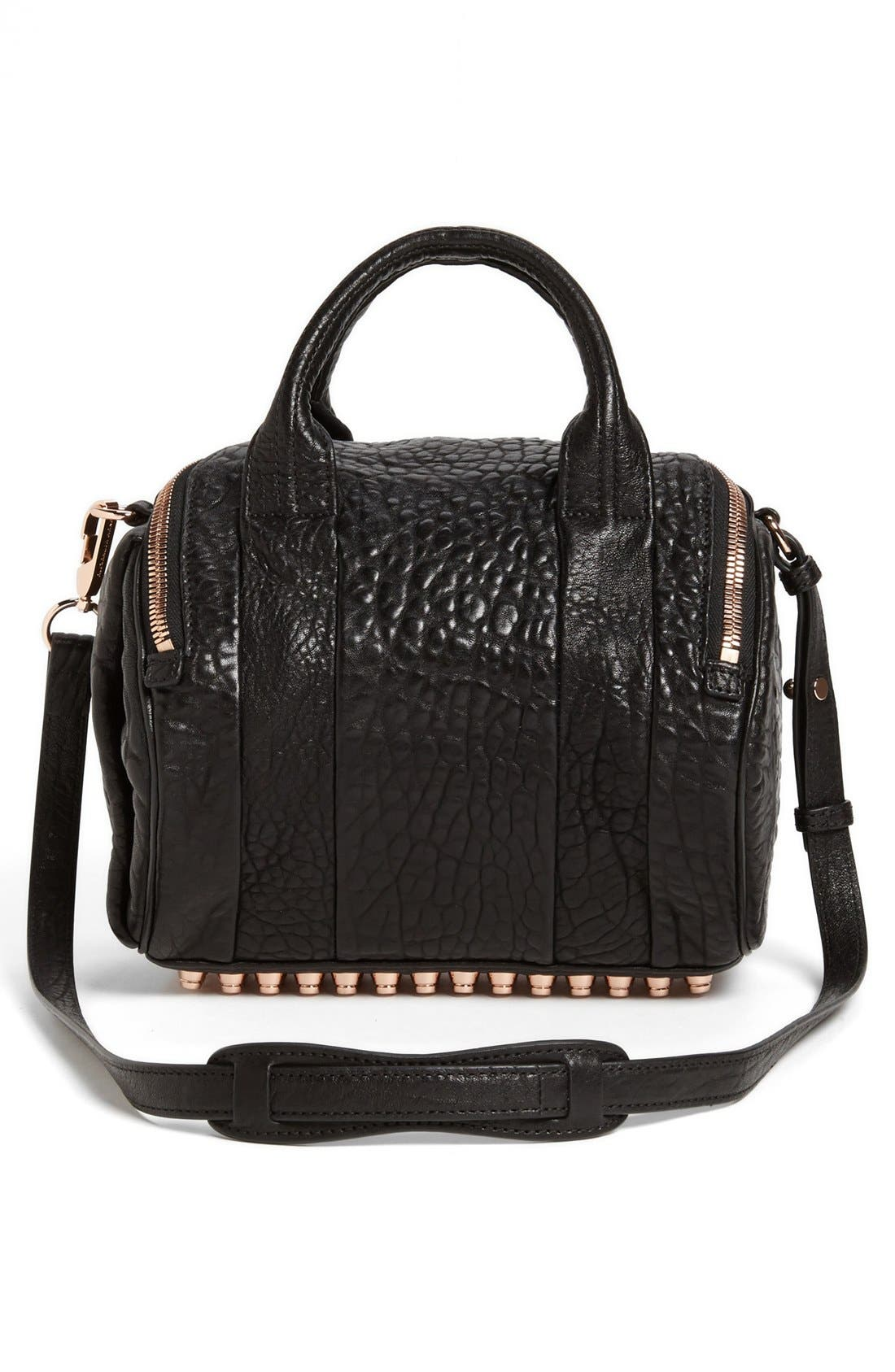 'Rockie - Rose Gold' Leather Crossbody Satchel,                             Alternate thumbnail 4, color,                             Black Rose Gld Hrdwre