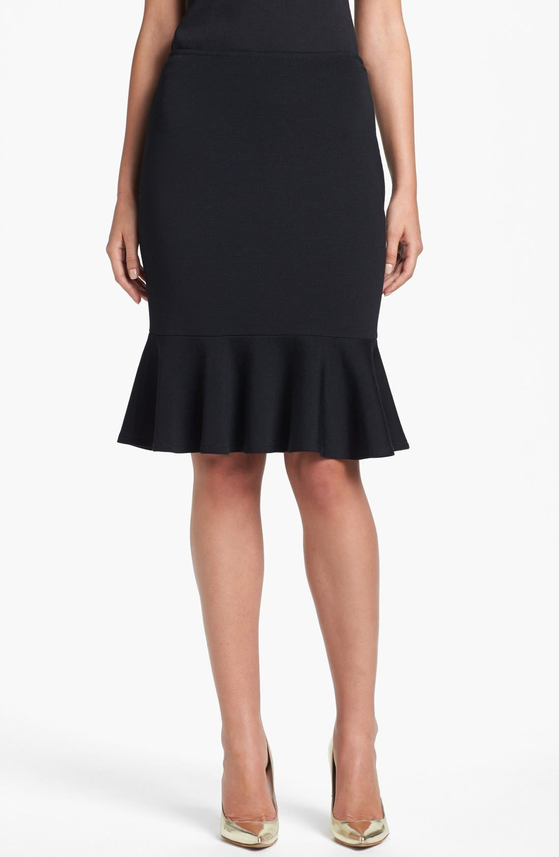 Main Image - St. John Collection Flounce Hem Milano Knit Pencil Skirt