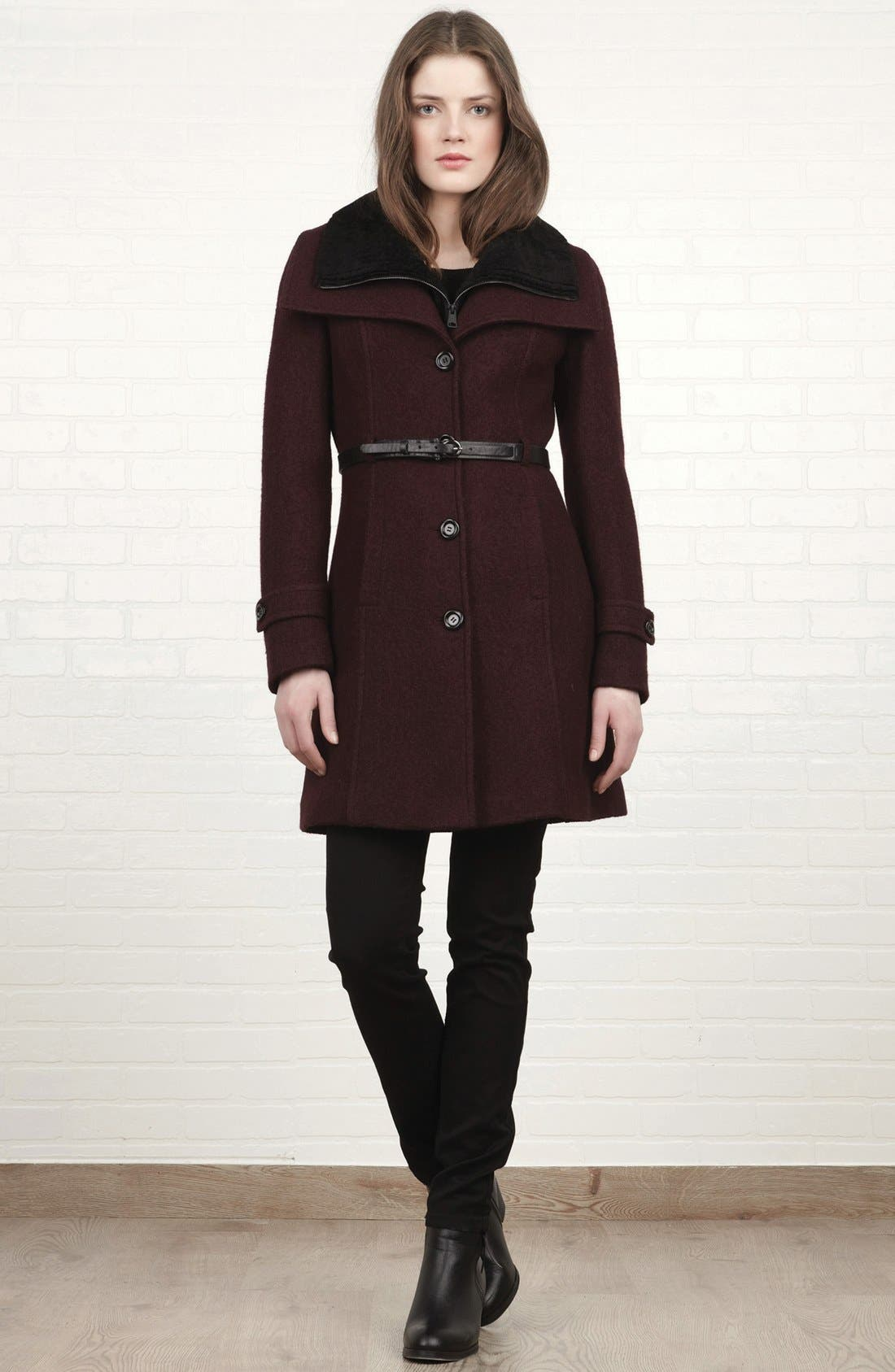 Alternate Image 5  - Soia & Kyo Wing Collar Coat with Genuine Shearling Inset
