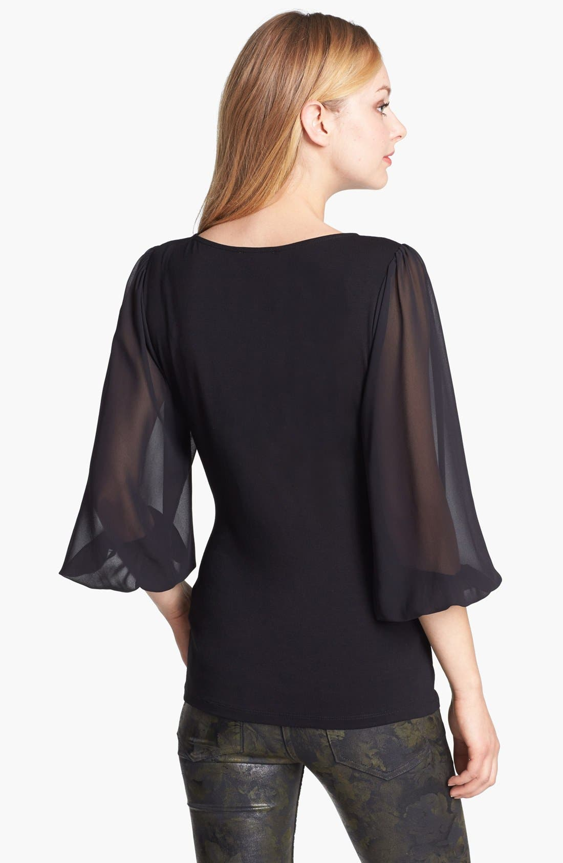Alternate Image 2  - Vince Camuto Chiffon Sleeve Knit Top (Petite)