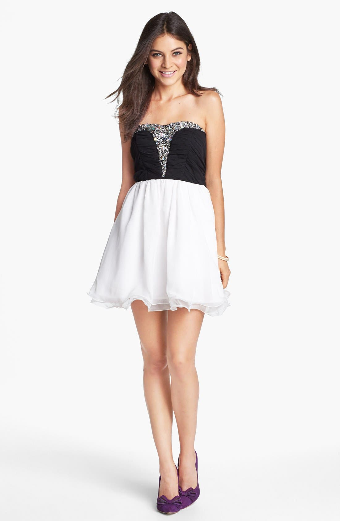 Main Image - Secret Charm Jeweled Mesh Fit & Flare Dress (Juniors) (Online Only)