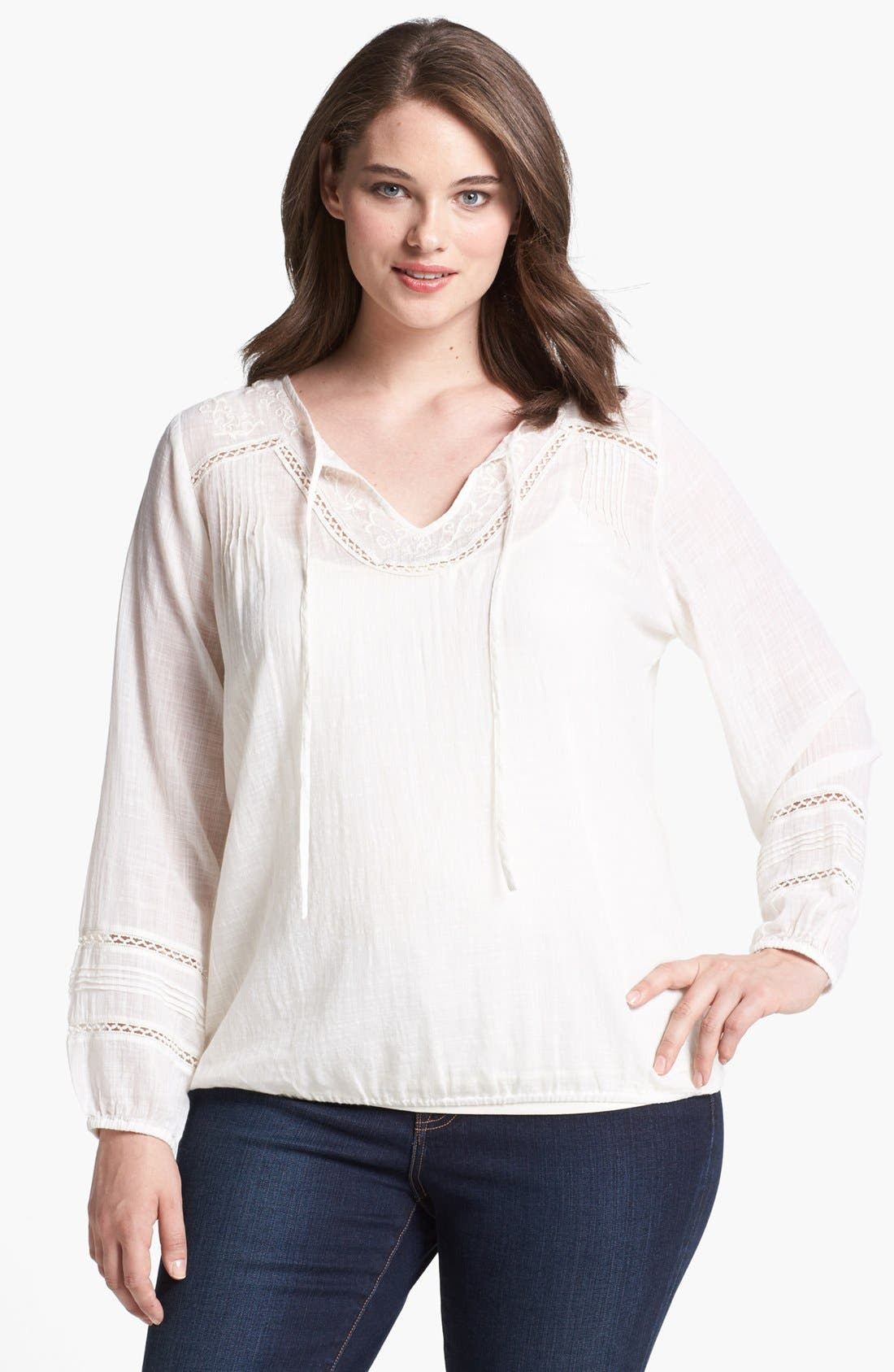 Main Image - Lucky Brand 'Corabelle' Embroidered Tunic (Plus Size)