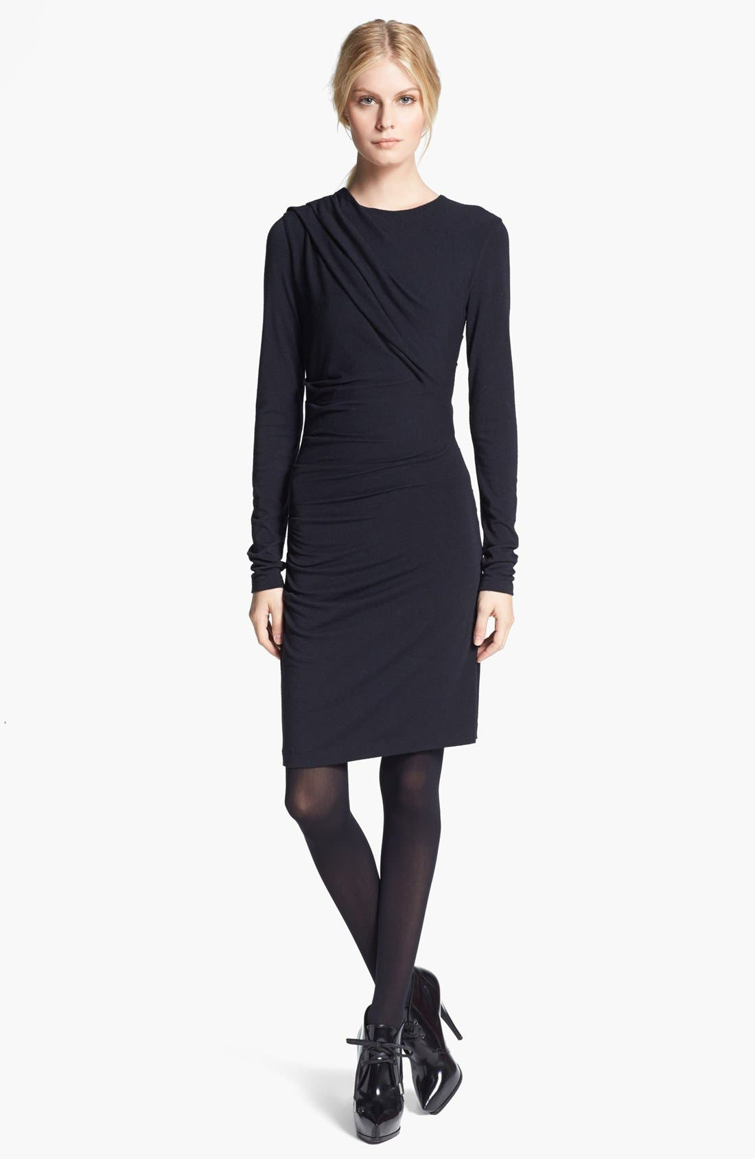 Gathered Jersey Dress,                         Main,                         color, Black