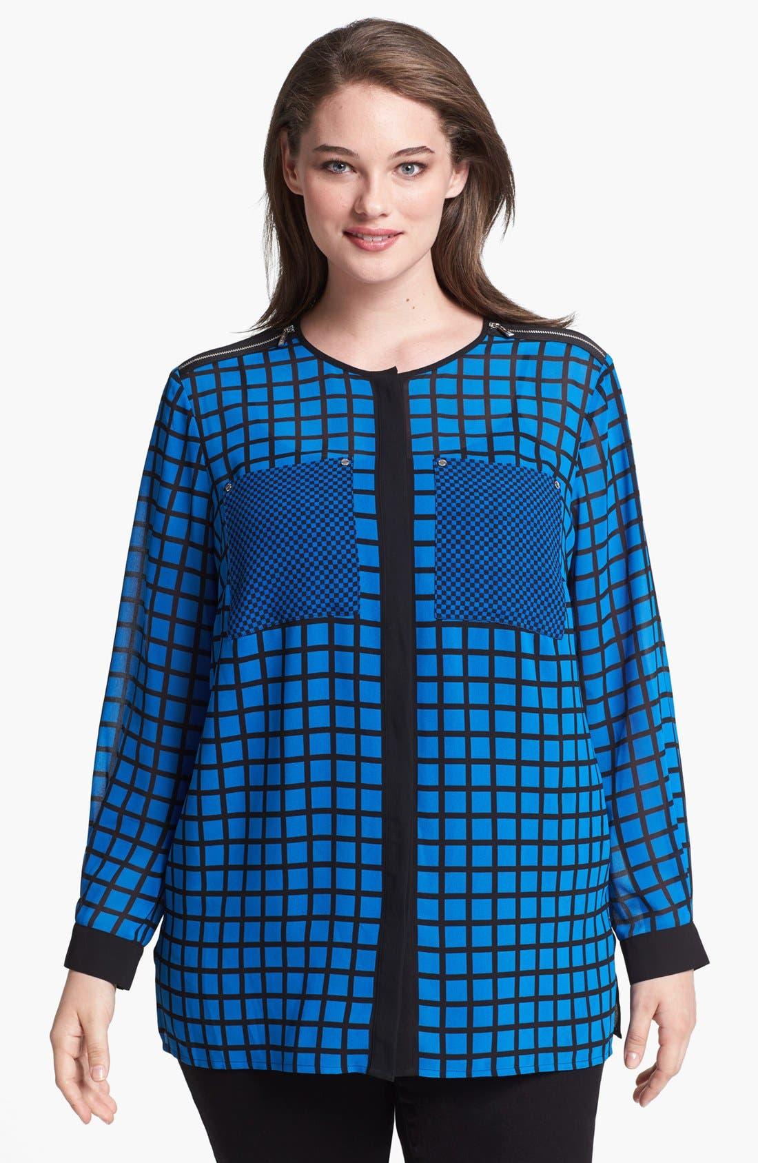 Alternate Image 1 Selected - MICHAEL Michael Kors Zip Shoulder Print Blouse (Plus Size)