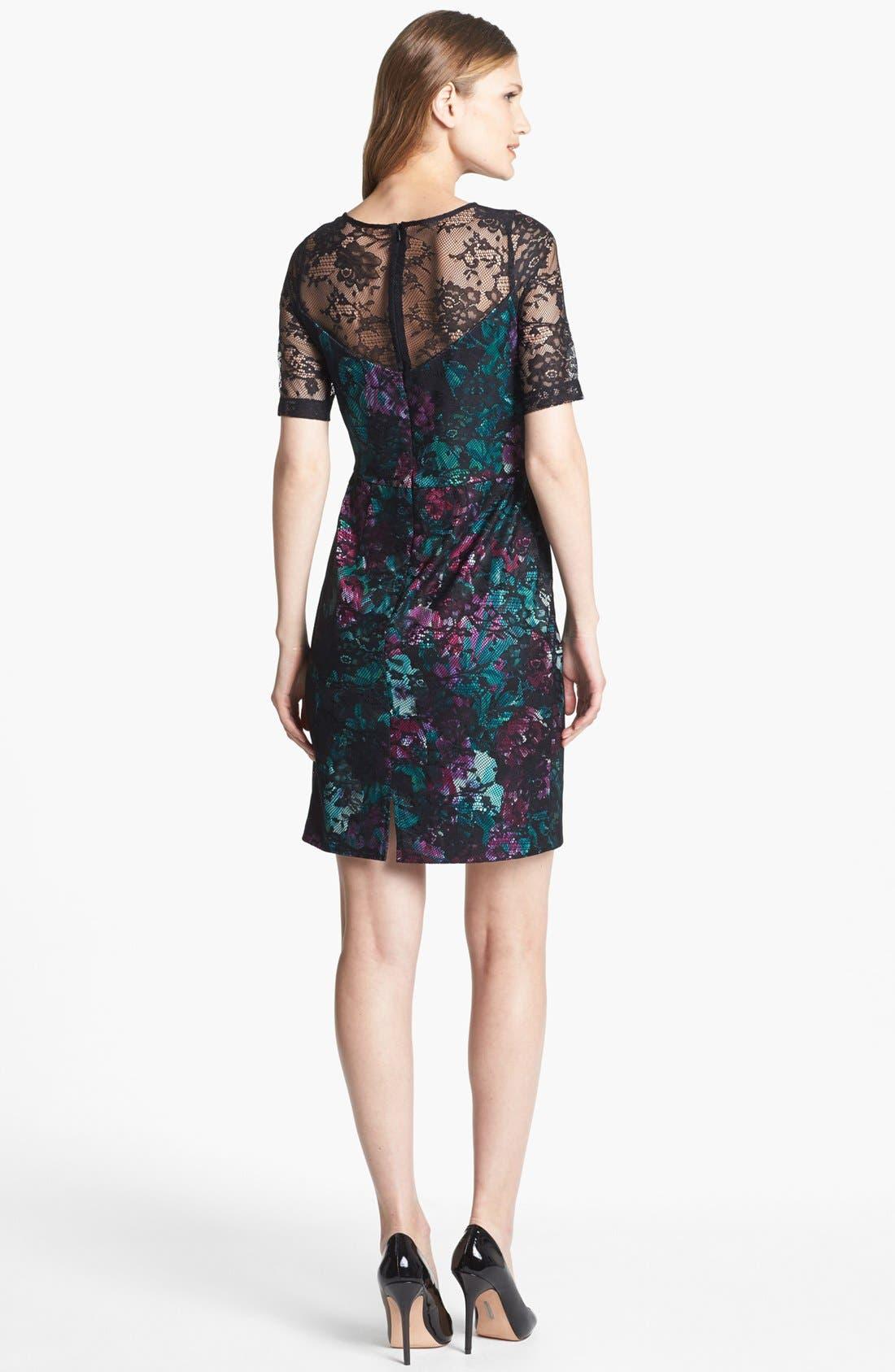 Alternate Image 2  - Donna Ricco Illusion Lace Print Sheath Dress