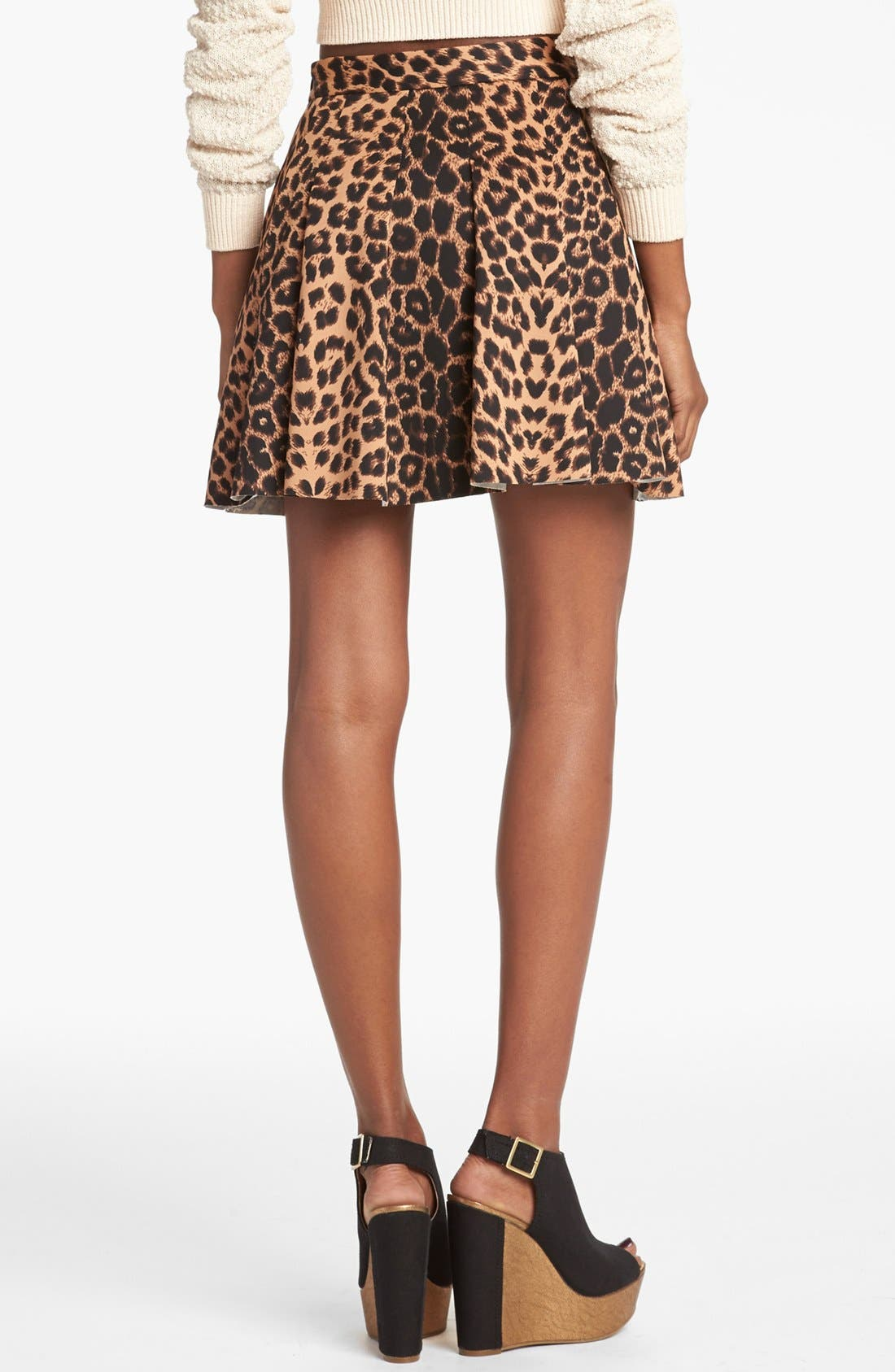 Alternate Image 2  - Mural Leopard Print Skater Skirt