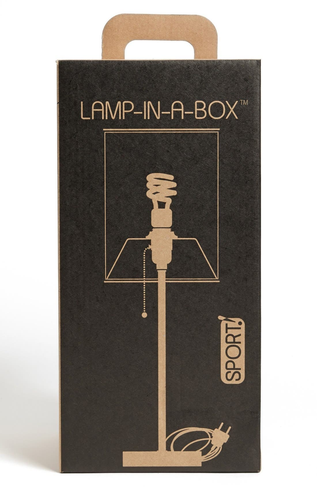 Alternate Image 2  - LAMP-IN-A-BOX Grey Striped Table Lamp