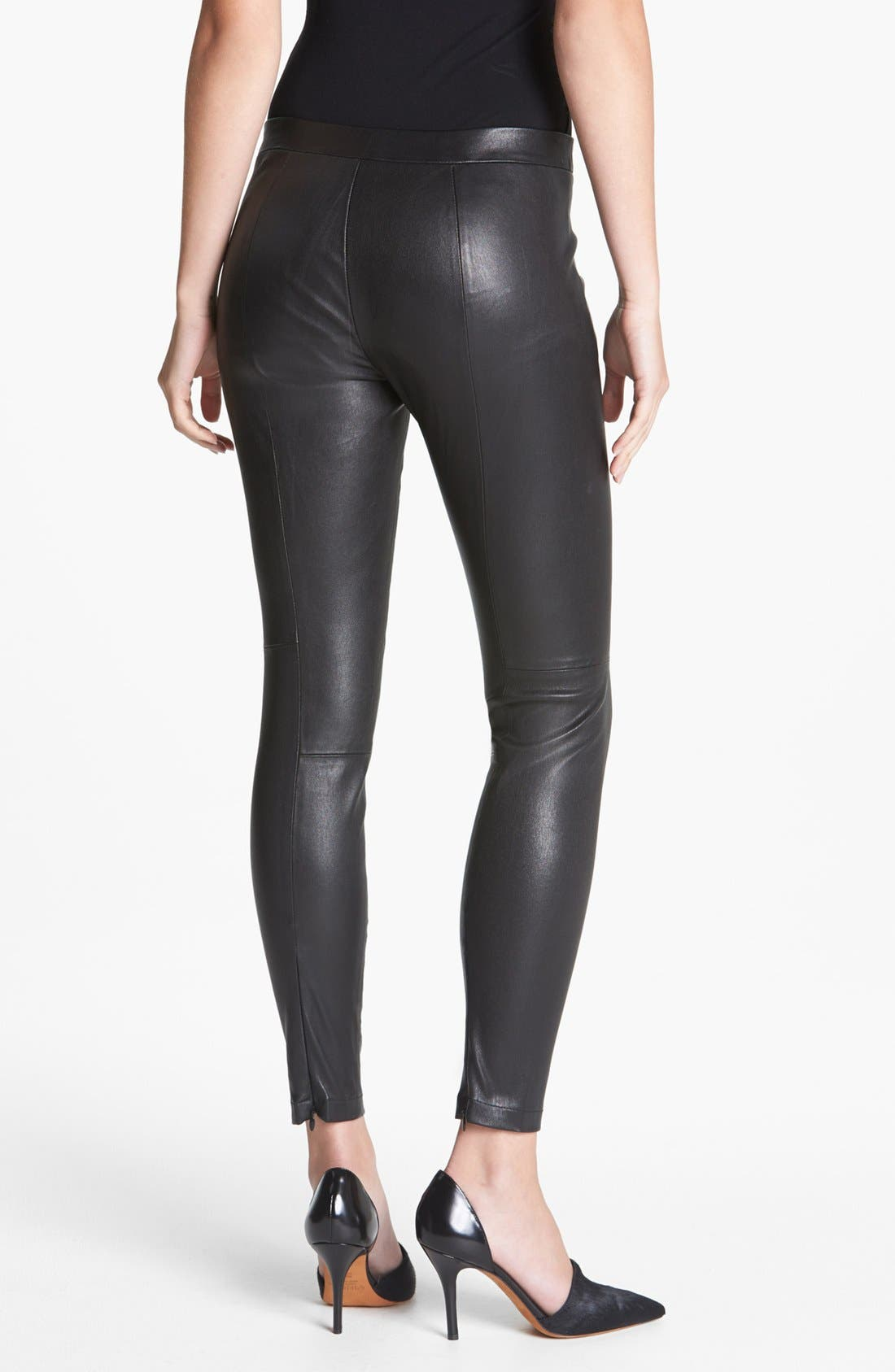 Alternate Image 2  - Vince Cropped Leather Leggings