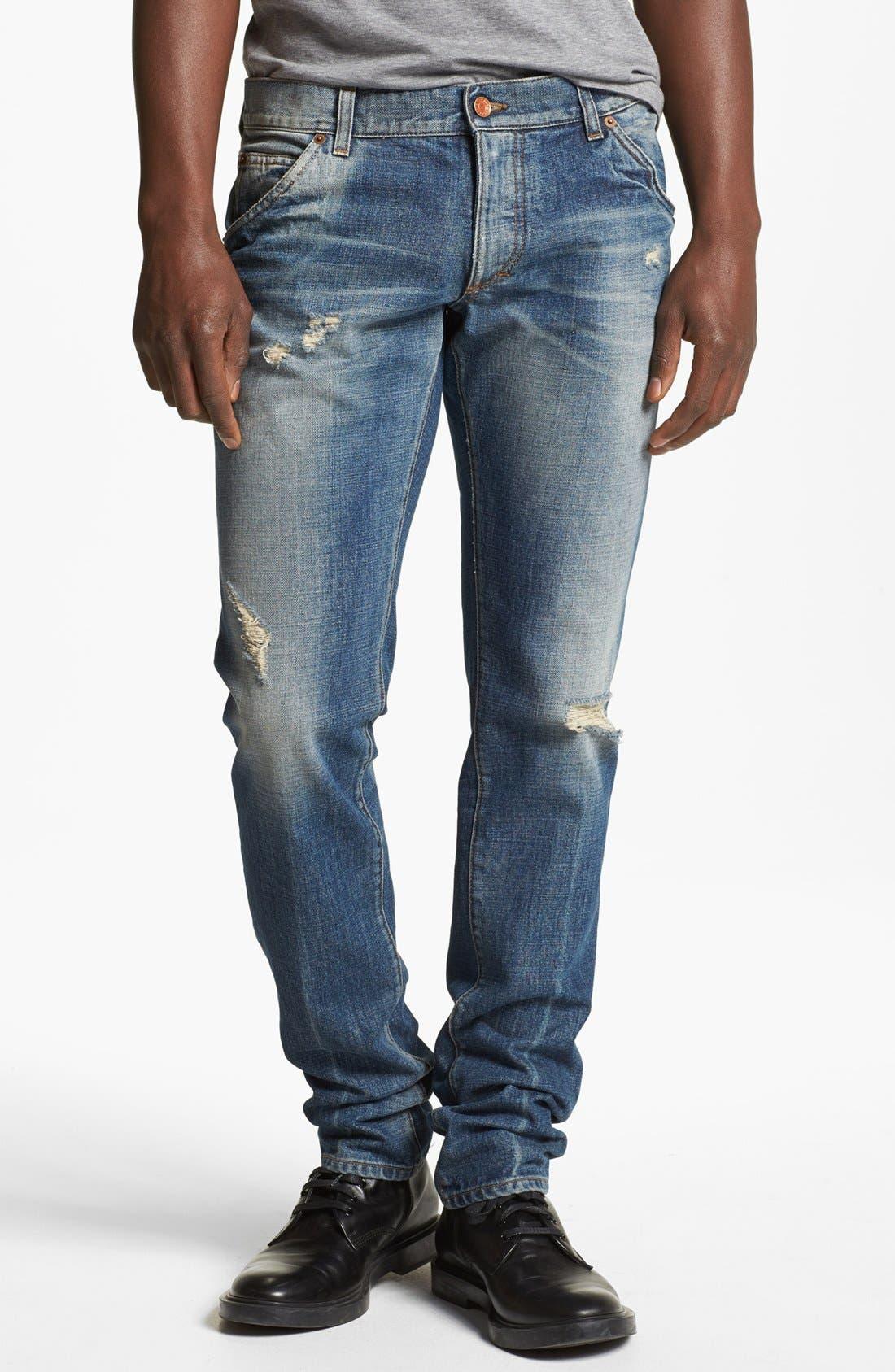Alternate Image 1 Selected - Dolce&Gabbana Slim Fit Jeans (Light Blue)