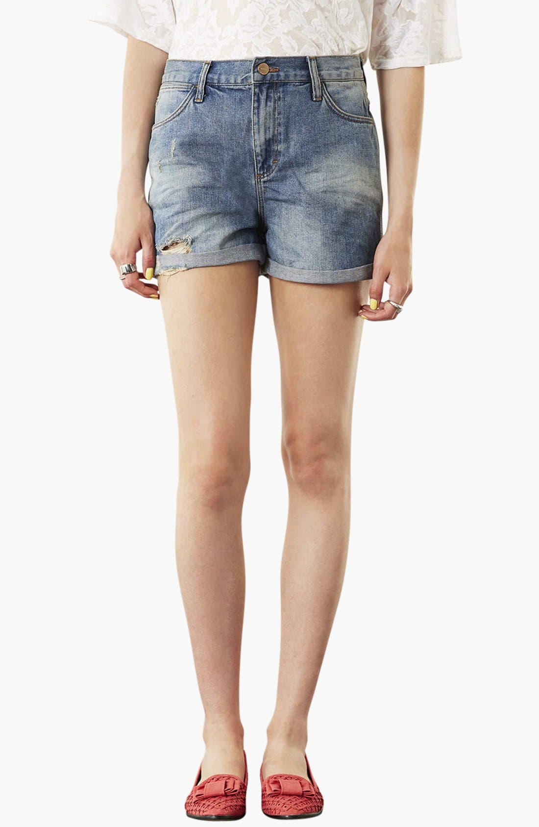 Main Image - Topshop Moto 'Dirty Boy' Distressed Denim Shorts