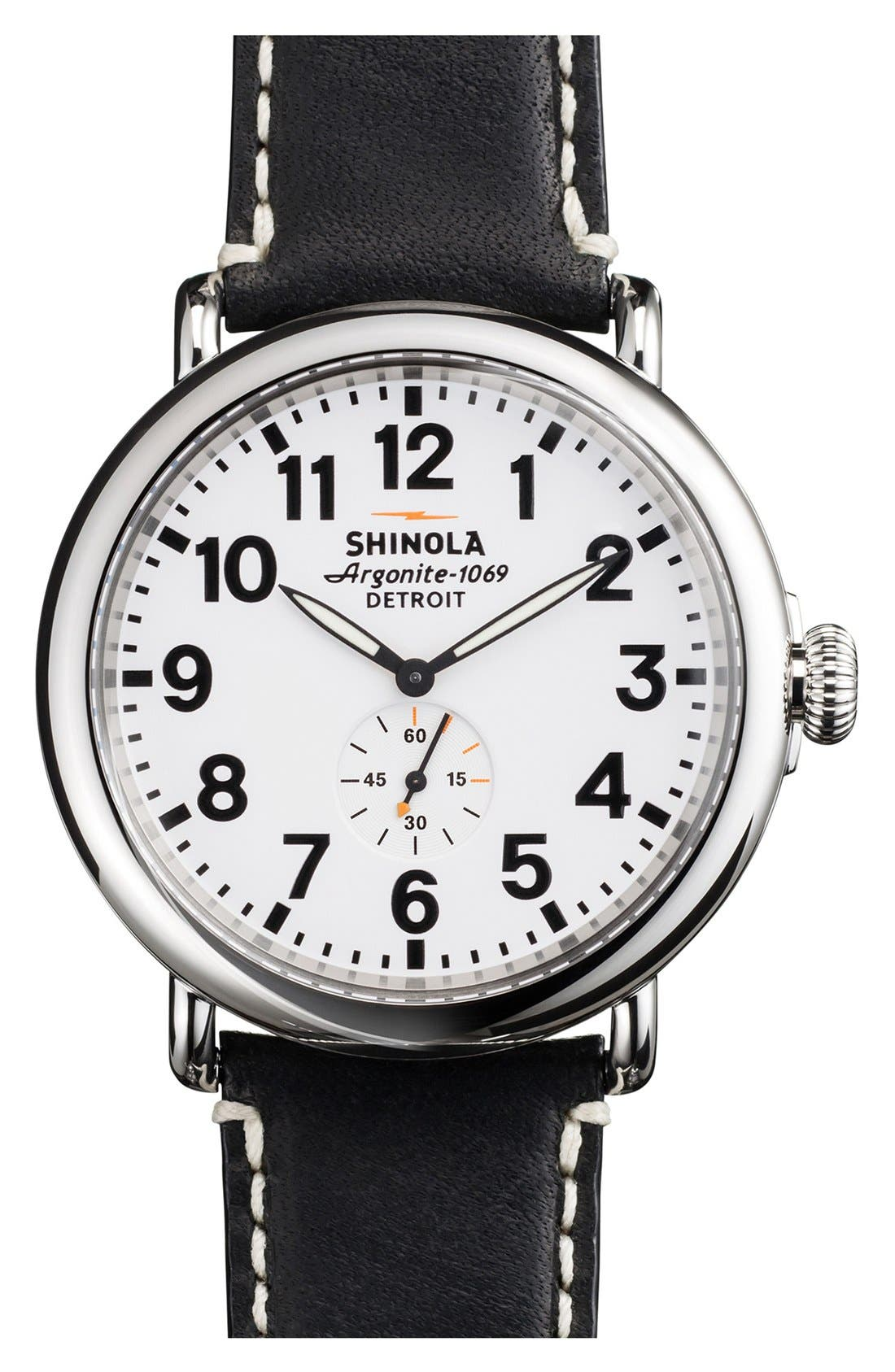 'The Runwell' Leather Strap Watch, 47mm,                         Main,                         color, Black/ White