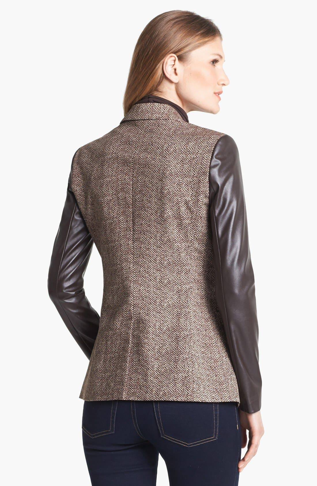 Alternate Image 2  - MICHAEL Michael Kors Faux Leather Sleeve Tweed Blazer