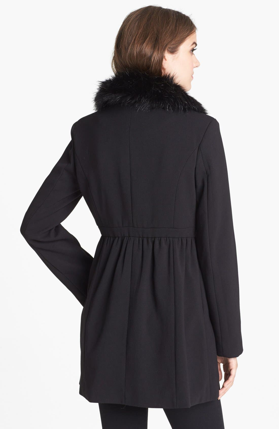 Alternate Image 2  - bebe Asymmetrical Coat with Detachable Faux Fur Collar