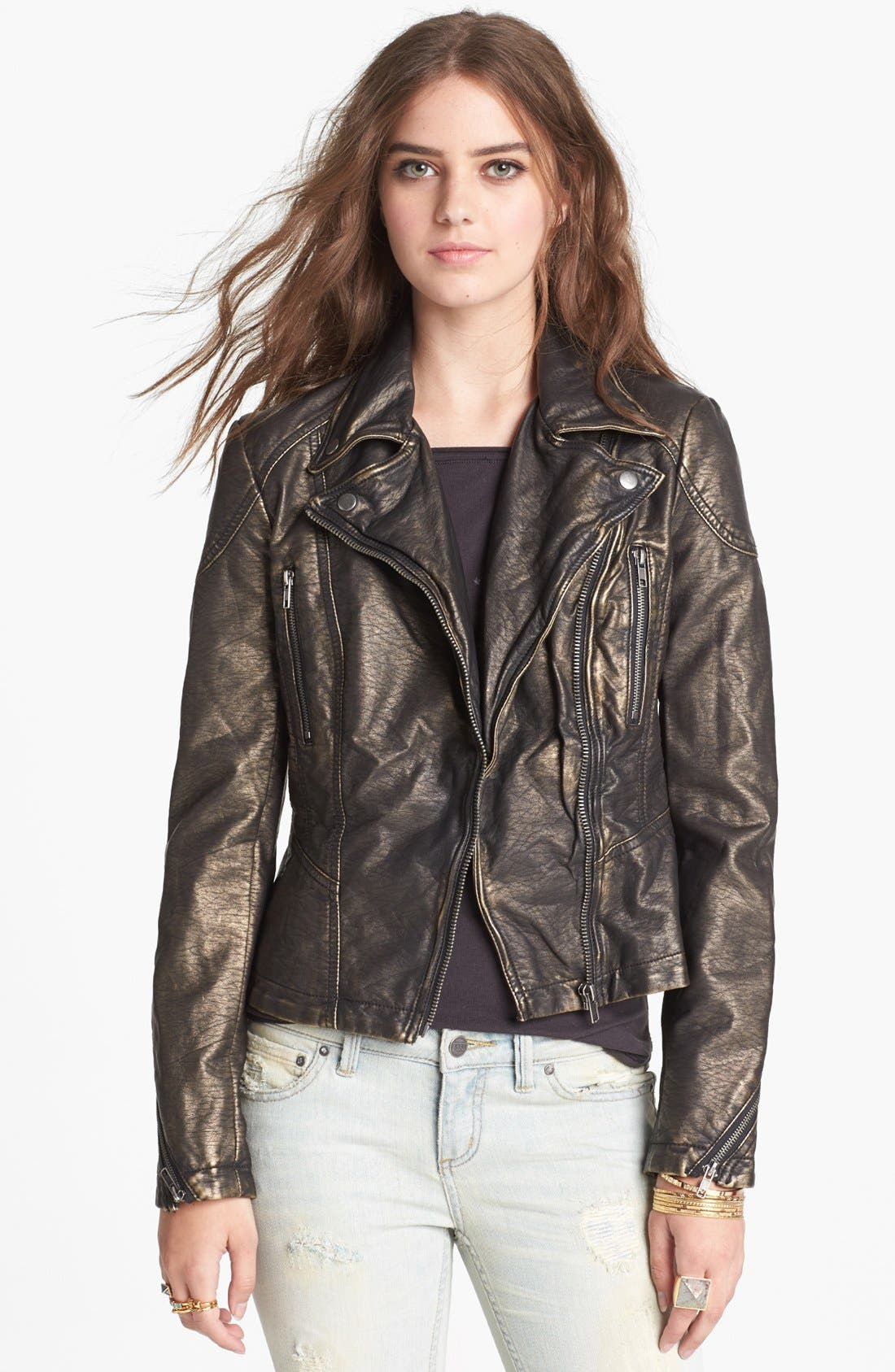 Main Image - Free People Metallic Faux Leather Jacket