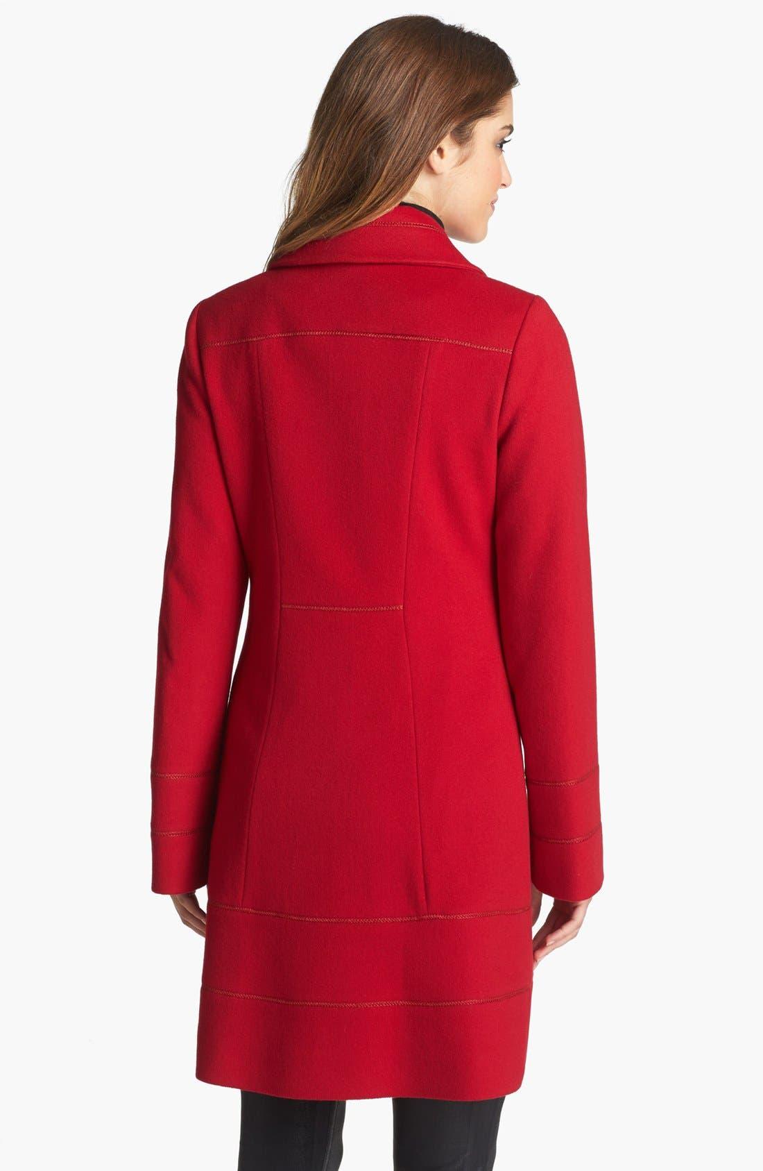 Alternate Image 2  - Fleurette Stitch Trim Loro Piana Wool Coat (Petite)