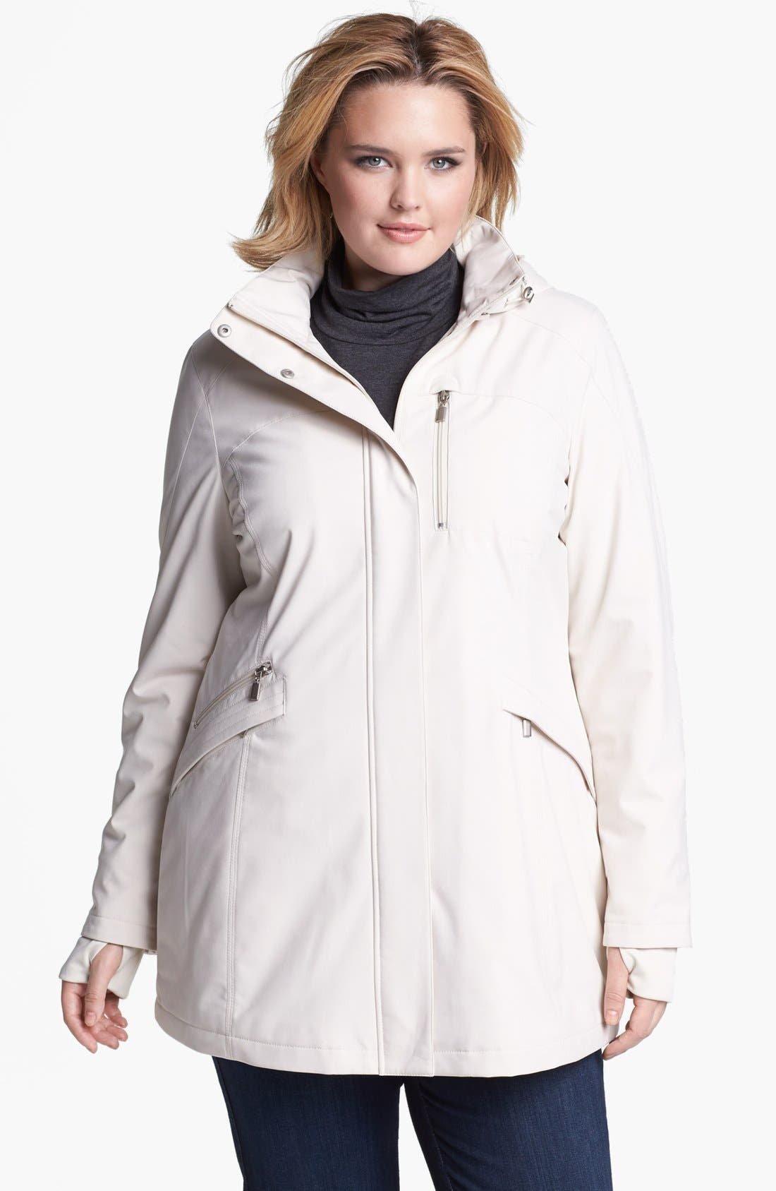 Alternate Image 1 Selected - Kristen Blake Raincoat with Detachable Hood (Plus Size)