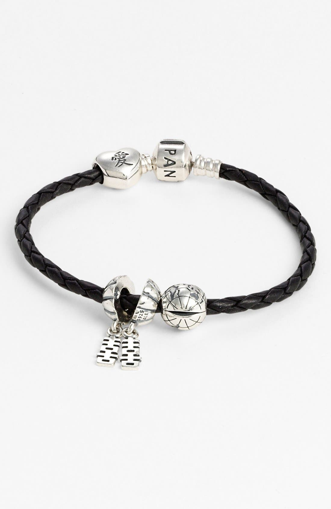 Alternate Image 1 Selected - PANDORA Woven Leather Charm Bracelet