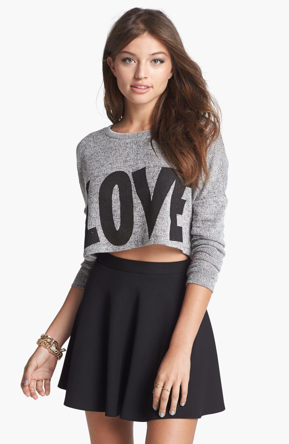Alternate Image 1 Selected - Soprano 'Love' Crop Sweater (Juniors)