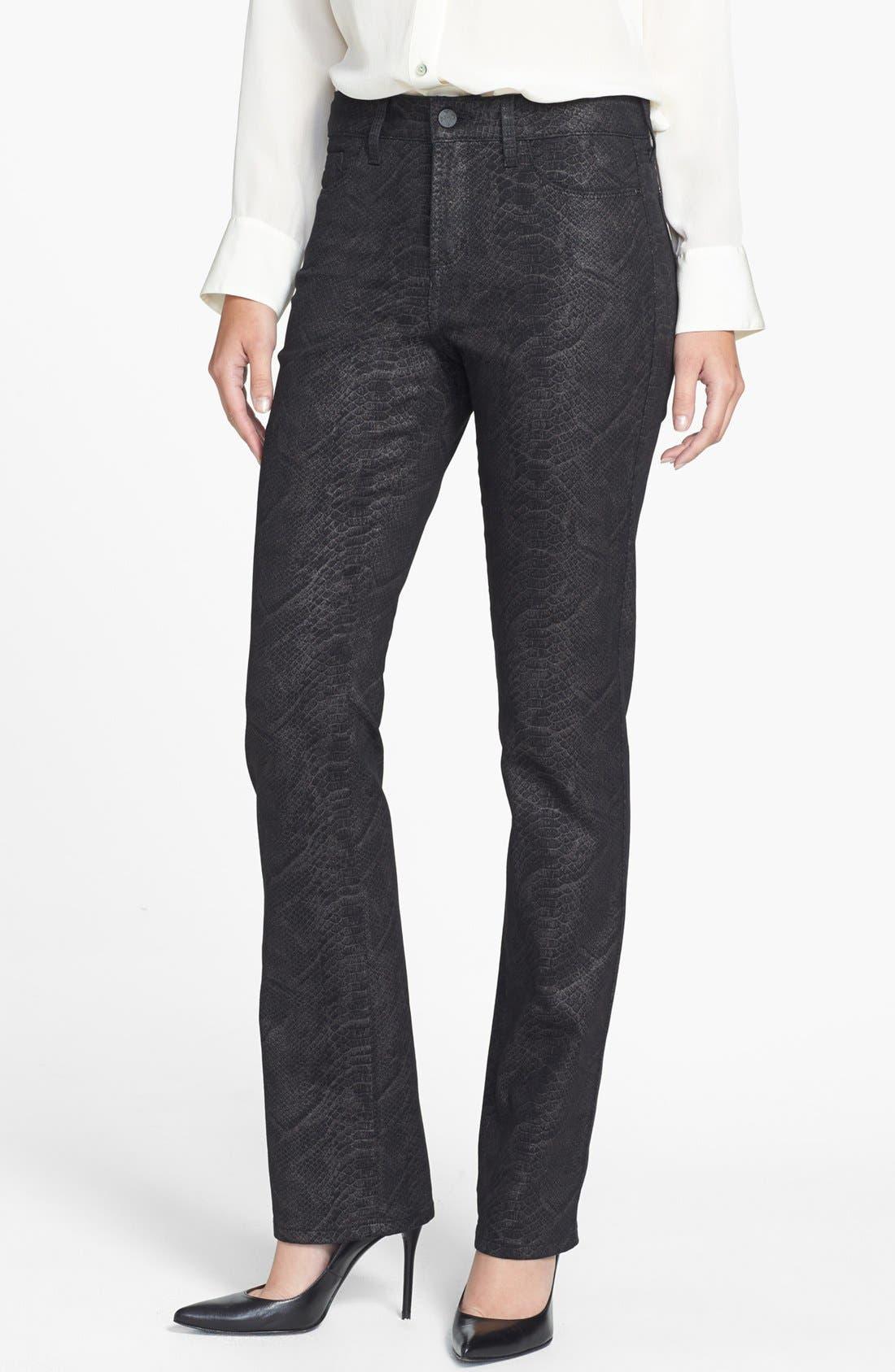 Main Image - NYDJ 'Marilyn' Print Stretch Straight Leg Jeans (Metallic Snake)