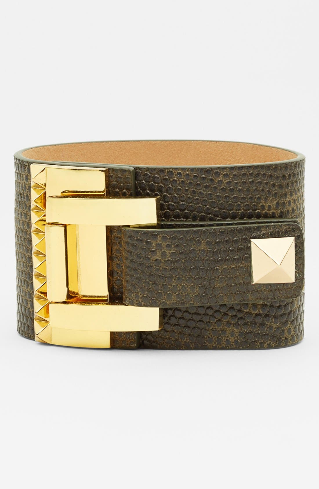'Tour of Duty' Studded Buckle Wrap Bracelet,                             Main thumbnail 1, color,                             Gold/ Olive Lizard Leather
