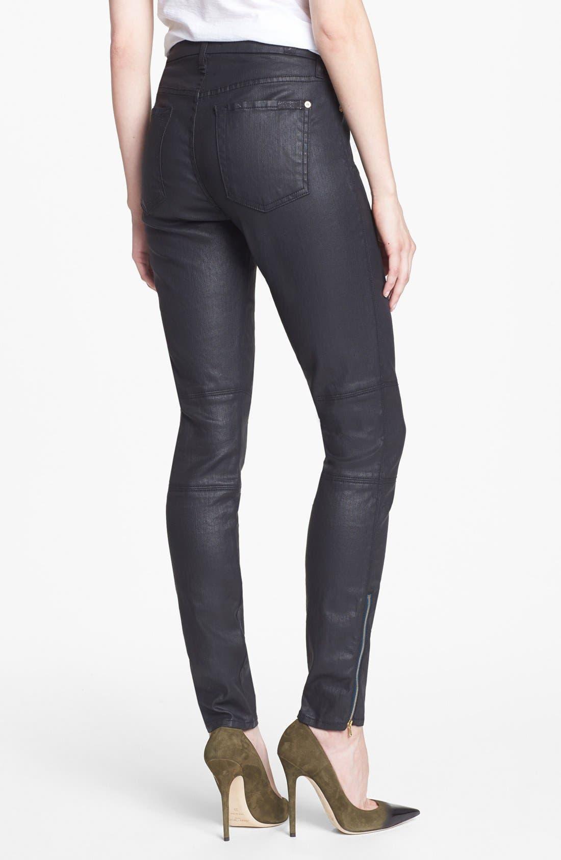 Alternate Image 2  - 7 For All Mankind® Coated Skinny Jeans (Black)