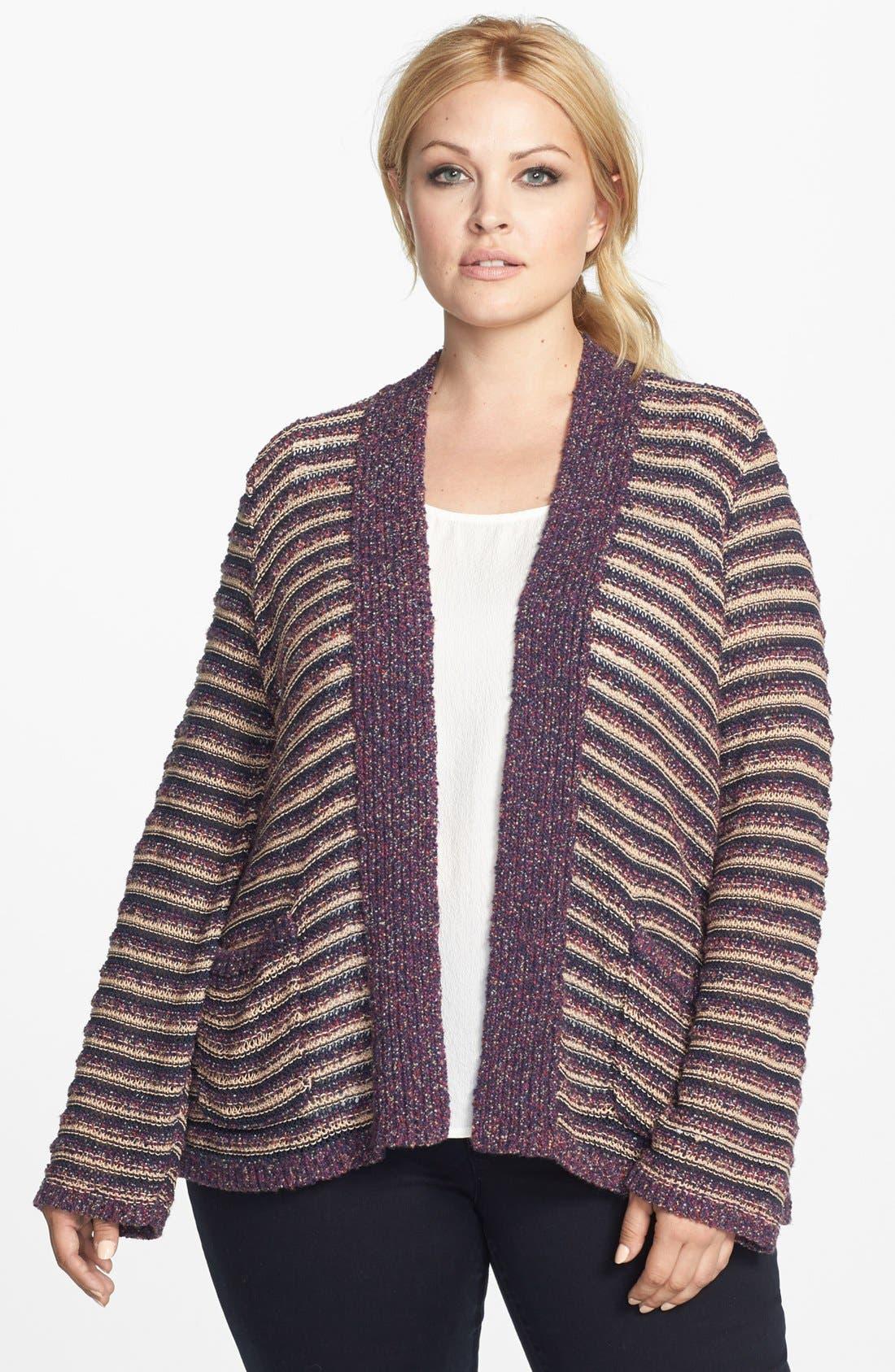 Alternate Image 1 Selected - Lucky Brand Stripe Cardigan (Plus Size)