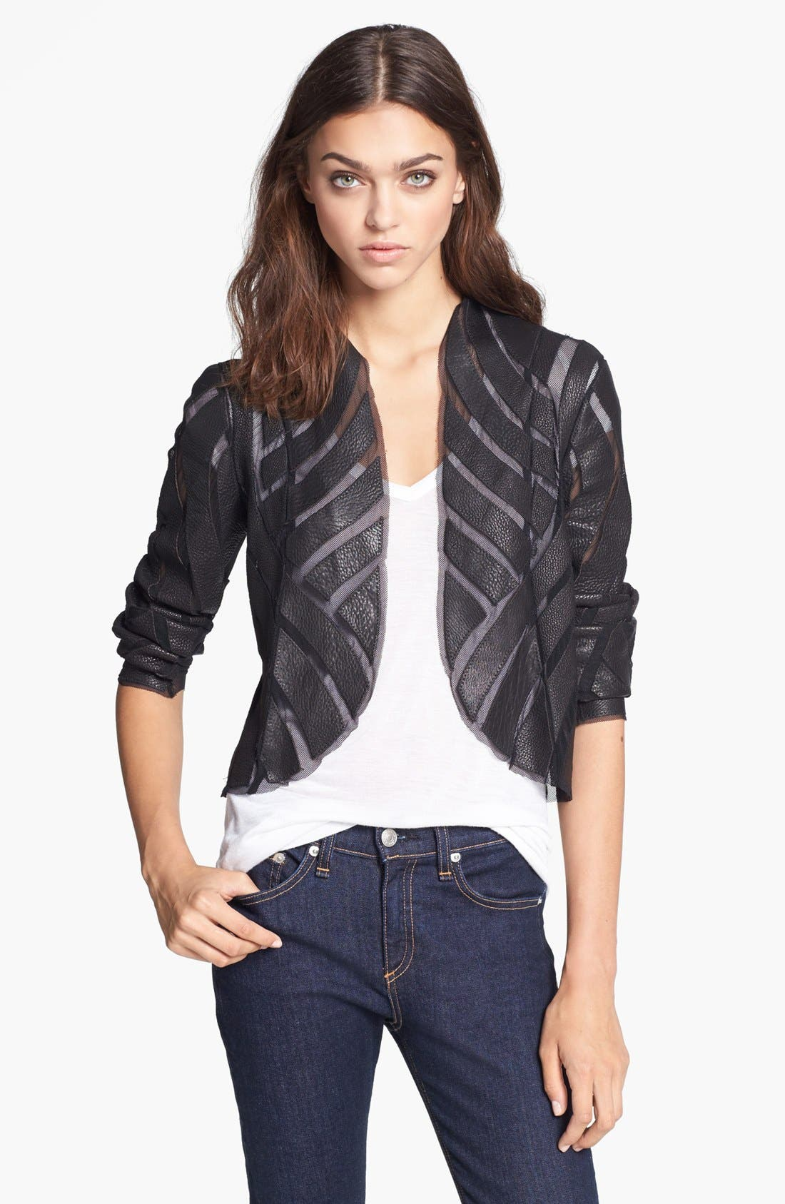 Alternate Image 1 Selected - Haute Hippie Leather & Mesh Jacket